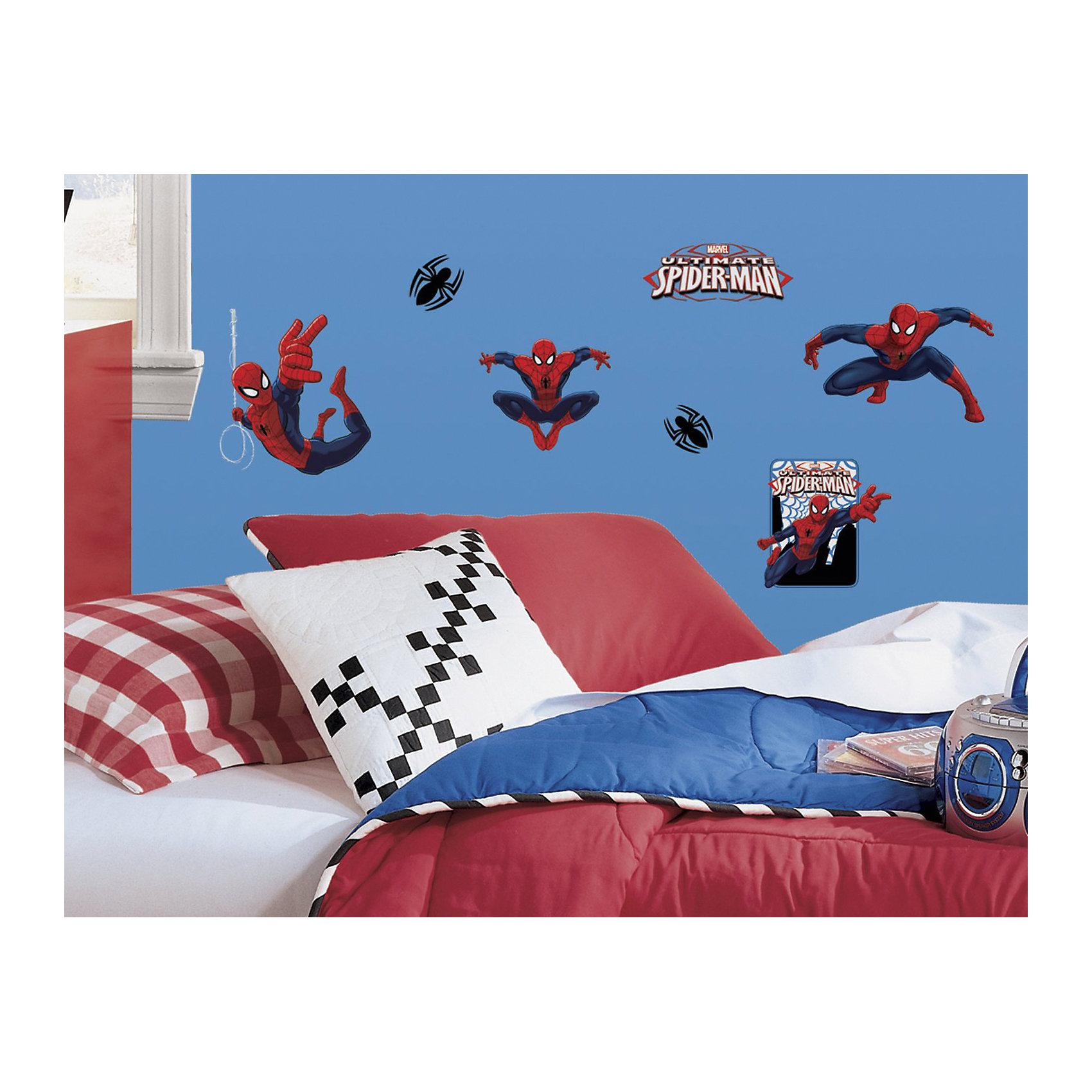 Наклейки для декора Человек-паукПредметы интерьера<br>Наклейки для декора Человек-паук, RoomMates, замечательно подойдут для украшения Вашего интерьера, детской комнаты, спальни или мебели. В комплект входят наклейки с изображениями персонажей фильмов и комиксов о популярном супергерое Человеке-пауке (всего в наборе 22 наклейки). Наклейки просты в применении и подходят для многоразового использования. Освободите выбранный рисунок от защитного слоя и приклейте на стену или любую другую плоскую гладкую поверхность. Стикеры легко отклеиваются и не оставляют липких следов на поверхности. Яркие наклейки с любимыми героями будут радовать Вашего ребенка и создавать атмосферу домашнего уюта.<br><br>Дополнительная информация:<br><br>- В комплекте: 4 листа наклеек (всего 22 наклейки).<br>- Материал: винил.<br>- Размер упаковки: 29,21 х 12,7 х 2,54 см. <br>- Вес: 141 гр. <br><br>Наклейки для декора Человек-паук, RoomMates, можно купить в нашем интернет-магазине.<br><br>Ширина мм: 8500<br>Глубина мм: 8500<br>Высота мм: 60<br>Вес г: 8500<br>Возраст от месяцев: 36<br>Возраст до месяцев: 144<br>Пол: Мужской<br>Возраст: Детский<br>SKU: 4652186