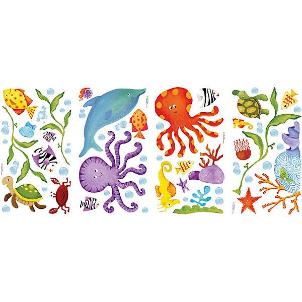 Наклейки для декора Приключения под водойДетские предметы интерьера<br>Наклейки для декора Приключения под водой, RoomMates, замечательно подойдут для украшения Вашего интерьера и придадут ему оригинальный и веселый вид. В комплект входят наклейки с изображениями дельфинов, рыбок, черепашек и других забавных морских обитателей (всего в наборе 4 листа с наклейками). Наклейки просты в применении и подходят для многоразового использования. Освободите выбранный рисунок от защитного слоя и приклейте на стену или любую другую плоскую гладкую поверхность. Стикеры легко отклеиваются и не оставляют липких следов на поверхности. Яркие наклейки с красочными морскими жителями будут радовать Вашего ребенка и создавать атмосферу домашнего уюта.<br><br>Дополнительная информация:<br><br>- В комплекте: 4 листа наклеек.<br>- Материал: винил.<br>- Размер упаковки: 29,21 х 12,7 х 2,54 см. <br>- Вес: 141 гр. <br><br>Наклейки для декора Приключения под водой, RoomMates, можно купить в нашем интернет-магазине.<br>Ширина мм: 292; Глубина мм: 127; Высота мм: 26; Вес г: 140; Возраст от месяцев: 36; Возраст до месяцев: 144; Пол: Унисекс; Возраст: Детский; SKU: 4652187;
