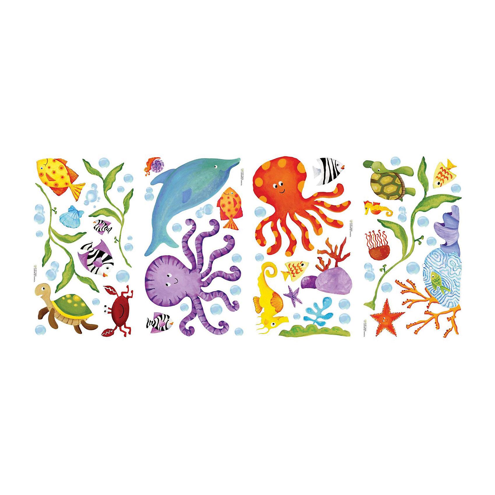 Наклейки для декора Приключения под водойДетские предметы интерьера<br>Наклейки для декора Приключения под водой, RoomMates, замечательно подойдут для украшения Вашего интерьера и придадут ему оригинальный и веселый вид. В комплект входят наклейки с изображениями дельфинов, рыбок, черепашек и других забавных морских обитателей (всего в наборе 4 листа с наклейками). Наклейки просты в применении и подходят для многоразового использования. Освободите выбранный рисунок от защитного слоя и приклейте на стену или любую другую плоскую гладкую поверхность. Стикеры легко отклеиваются и не оставляют липких следов на поверхности. Яркие наклейки с красочными морскими жителями будут радовать Вашего ребенка и создавать атмосферу домашнего уюта.<br><br>Дополнительная информация:<br><br>- В комплекте: 4 листа наклеек.<br>- Материал: винил.<br>- Размер упаковки: 29,21 х 12,7 х 2,54 см. <br>- Вес: 141 гр. <br><br>Наклейки для декора Приключения под водой, RoomMates, можно купить в нашем интернет-магазине.<br><br>Ширина мм: 292<br>Глубина мм: 127<br>Высота мм: 26<br>Вес г: 140<br>Возраст от месяцев: 36<br>Возраст до месяцев: 144<br>Пол: Унисекс<br>Возраст: Детский<br>SKU: 4652187