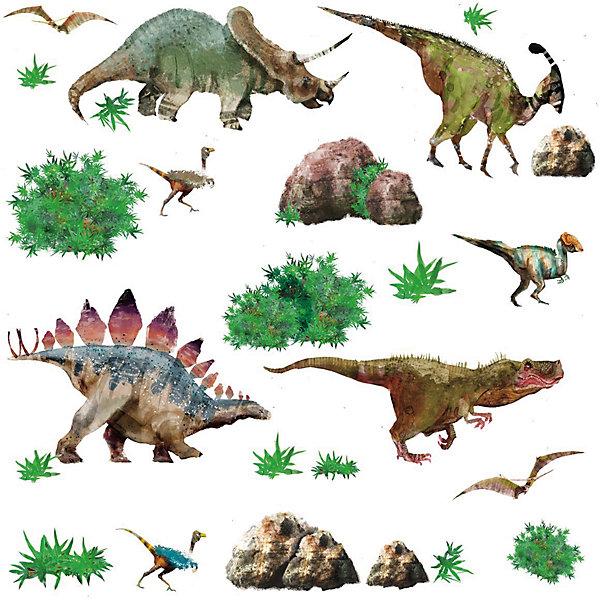 Наклейки для декора ДинозаврыДетские предметы интерьера<br>Наклейки для декора Динозавры, RoomMates, замечательно подойдут для украшения Вашего интерьера, детской комнаты, спальни или мебели. В комплект входят наклейки с изображениями различных динозавров, а также растений, окружающих их (всего в наборе 25 стикеров).<br>Наклейки просты в применении и подходят для многоразового использования. Освободите выбранный рисунок от защитного слоя и приклейте на стену или любую другую плоскую гладкую поверхность. Стикеры легко отклеиваются и не оставляют липких следов на поверхности. Яркие наклейки с красочными интересными рисунками будут радовать Вашего ребенка и создавать атмосферу домашнего уюта.<br><br>Дополнительная информация:<br><br>- В комплекте: 4 листа наклеек (всего 25 наклеек).<br>- Материал: винил.<br>- Размер упаковки: 29,21 х 12,7 х 2,54 см. <br>- Вес: 141 гр. <br><br>Наклейки для декора Динозавры, RoomMates, можно купить в нашем интернет-магазине.<br>Ширина мм: 300; Глубина мм: 130; Высота мм: 25; Вес г: 141; Возраст от месяцев: 36; Возраст до месяцев: 144; Пол: Унисекс; Возраст: Детский; SKU: 4652188;