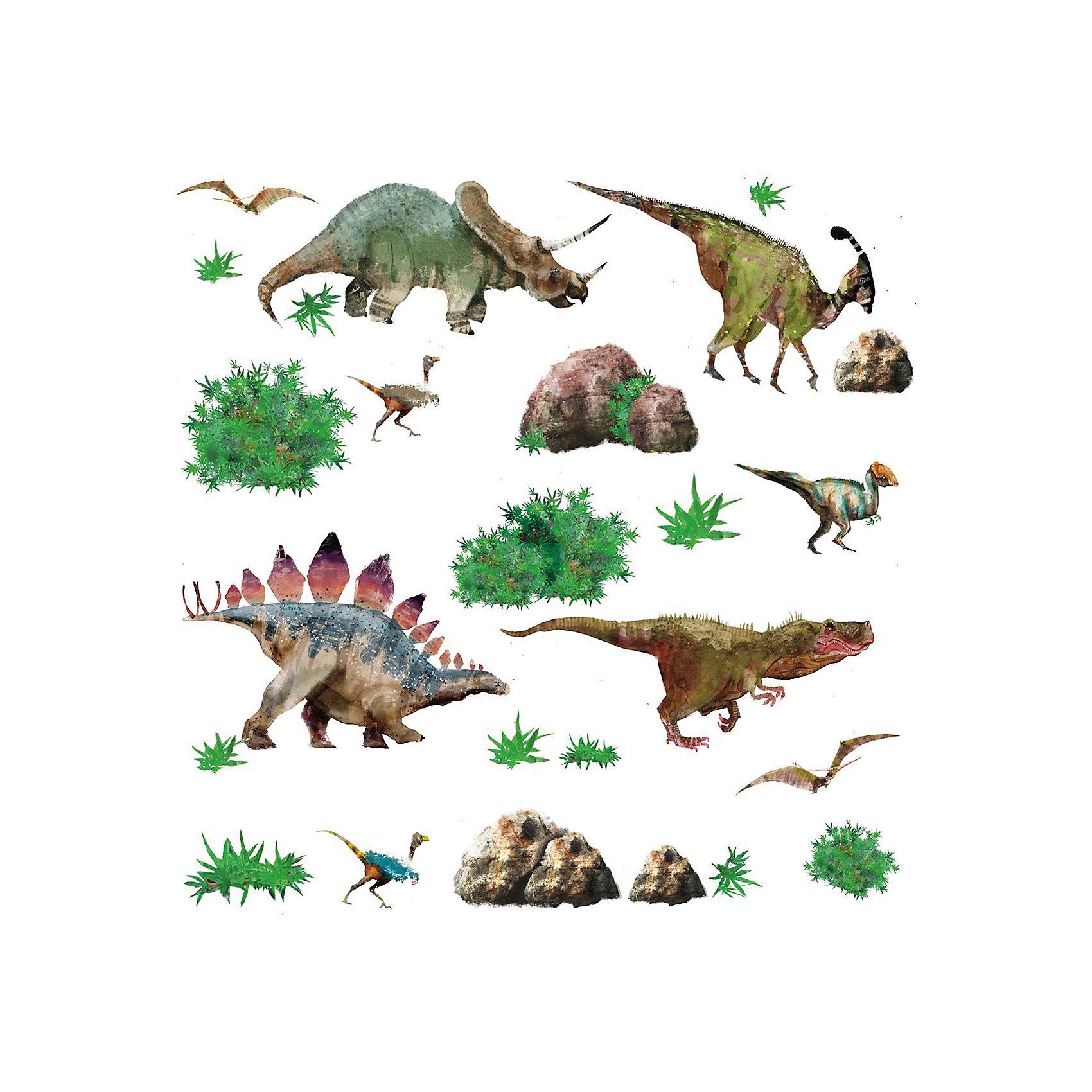 Наклейки для декора ДинозаврыПредметы интерьера<br>Наклейки для декора Динозавры, RoomMates, замечательно подойдут для украшения Вашего интерьера, детской комнаты, спальни или мебели. В комплект входят наклейки с изображениями различных динозавров, а также растений, окружающих их (всего в наборе 25 стикеров).<br>Наклейки просты в применении и подходят для многоразового использования. Освободите выбранный рисунок от защитного слоя и приклейте на стену или любую другую плоскую гладкую поверхность. Стикеры легко отклеиваются и не оставляют липких следов на поверхности. Яркие наклейки с красочными интересными рисунками будут радовать Вашего ребенка и создавать атмосферу домашнего уюта.<br><br>Дополнительная информация:<br><br>- В комплекте: 4 листа наклеек (всего 25 наклеек).<br>- Материал: винил.<br>- Размер упаковки: 29,21 х 12,7 х 2,54 см. <br>- Вес: 141 гр. <br><br>Наклейки для декора Динозавры, RoomMates, можно купить в нашем интернет-магазине.<br><br>Ширина мм: 8500<br>Глубина мм: 8500<br>Высота мм: 60<br>Вес г: 8500<br>Возраст от месяцев: 36<br>Возраст до месяцев: 144<br>Пол: Унисекс<br>Возраст: Детский<br>SKU: 4652188