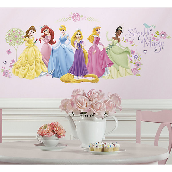 Купить Наклейки для декора Принцессы Дисней (персонажи), RoomMates, США, Женский
