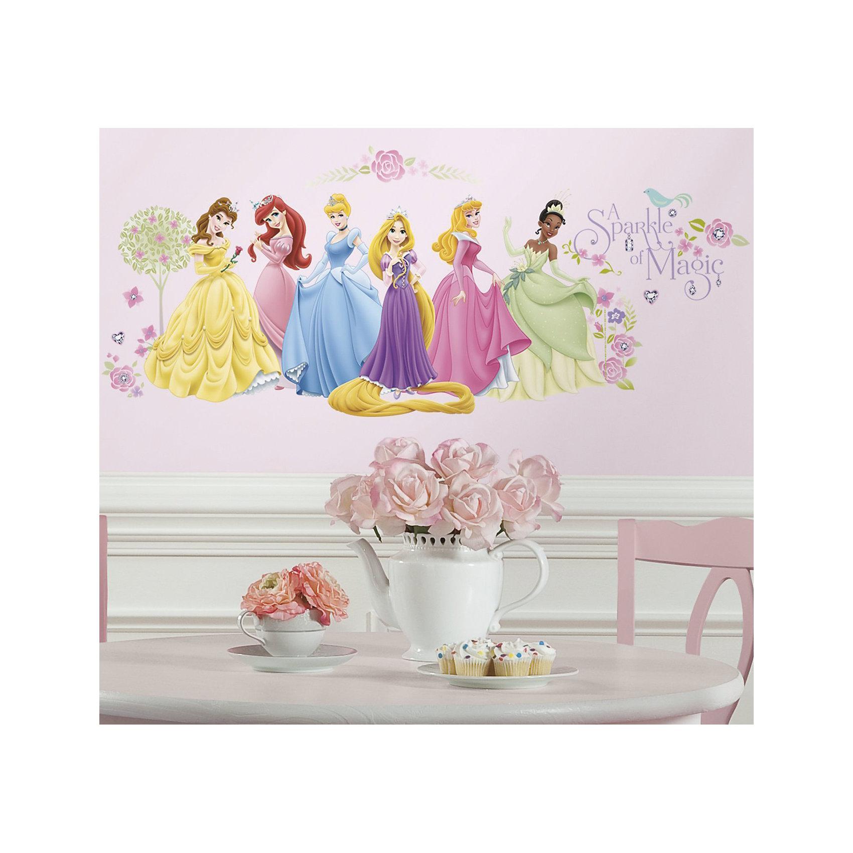 Наклейки для декора Принцессы Дисней (персонажи)Наклейки для декора Принцессы Дисней, RoomMates, замечательно подойдут для украшения Вашего интерьера, детской комнаты, спальни или мебели. В комплект входят наклейки с изображениями волшебных принцесс из популярных диснеевских мультфильмов (всего в наборе 36 наклеек). Наклейки просты в применении и подходят для многоразового использования. Освободите выбранный рисунок от защитного слоя и приклейте на стену или любую другую плоскую гладкую поверхность. Стикеры легко отклеиваются и не оставляют липких следов на поверхности. Яркие наклейки с любимыми героинями будут радовать Вашу девочку и создавать атмосферу домашнего уюта.<br><br>Дополнительная информация:<br><br>- В комплекте: 4 листа наклеек (всего 36 наклеек).<br>- Материал: винил.<br>- Размер упаковки: 29,21 х 12,7 х 2,54 см. <br>- Вес: 141 гр. <br><br>Наклейки для декора Принцессы Дисней (персонажи), RoomMates, можно купить в нашем интернет-магазине.<br><br>Ширина мм: 292<br>Глубина мм: 127<br>Высота мм: 26<br>Вес г: 140<br>Возраст от месяцев: 36<br>Возраст до месяцев: 144<br>Пол: Женский<br>Возраст: Детский<br>SKU: 4652189