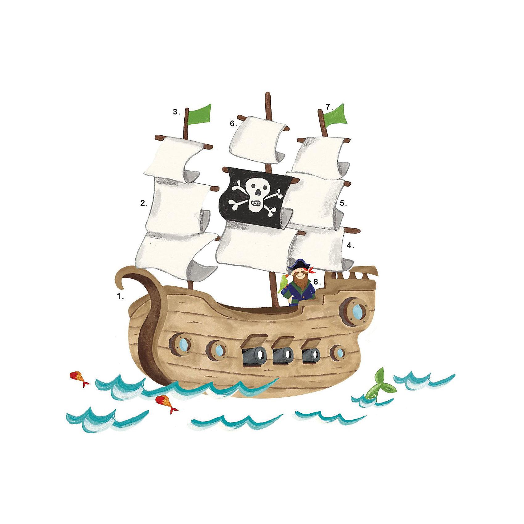 Наклейки для декора Пиратский корабльНаклейки для декора Пиратский корабль, RoomMates, замечательно подойдут для украшения Вашего интерьера и придадут ему оригинальный вид. В комплект входят наклейки большого формата с изображением плывущего по волнам пиратского корабля, с капитаном корабля, стоящим на борту, и его попугаем (всего в наборе 18 стикеров). Наклейки просты в применении и подходят для многоразового использования. Освободите выбранный рисунок от защитного слоя и приклейте на стену или любую другую плоскую гладкую поверхность. Стикеры легко отклеиваются и не оставляют липких следов на поверхности. Яркие наклейки с красочными интересными рисунками будут радовать Вашего ребенка и создавать атмосферу домашнего уюта.<br><br>Дополнительная информация:<br><br>- В комплекте: 18 наклеек.<br>- Материал: винил.<br>- Размер изображения в собранном виде: 92,7 х 109,8 см.<br>- Размер упаковки: 68,6 х 9 х 6,3 см. <br>- Вес: 0,454 кг. <br><br>Наклейки для декора Пиратский корабль, RoomMates, можно купить в нашем интернет-магазине.<br><br>Ширина мм: 6800<br>Глубина мм: 6800<br>Высота мм: 34<br>Вес г: 6800<br>Возраст от месяцев: 36<br>Возраст до месяцев: 144<br>Пол: Мужской<br>Возраст: Детский<br>SKU: 4652190