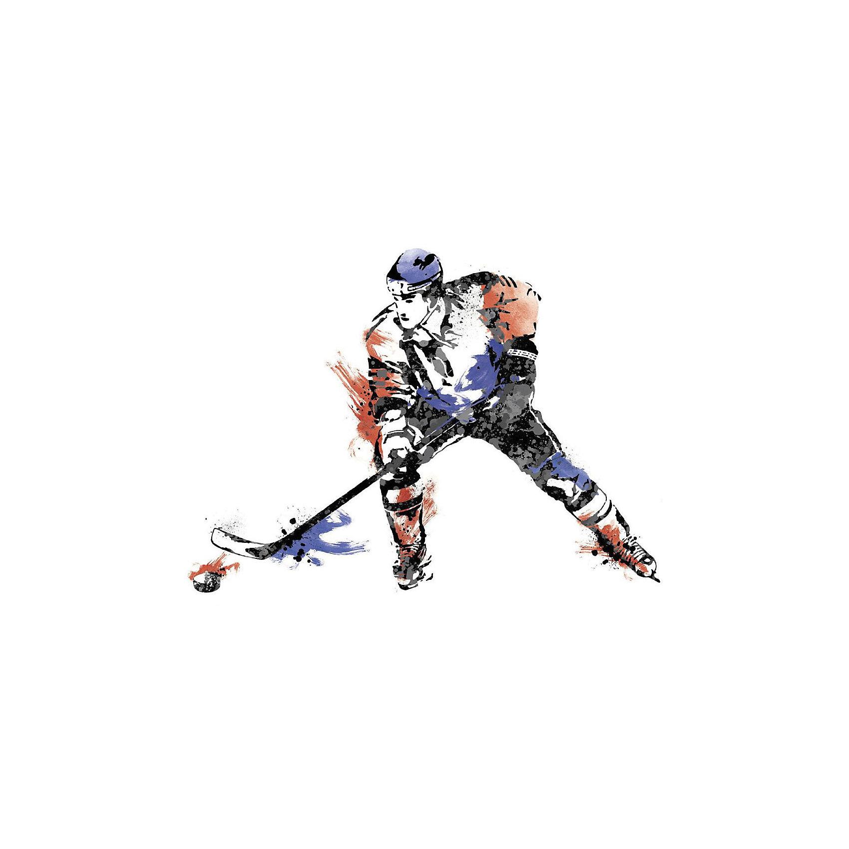 Наклейки для декора Чемпионат по хоккеюПредметы интерьера<br>Наклейки для декора Чемпионат по хоккею, RoomMates, замечательно подойдут для украшения Вашего интерьера, детской комнаты, спальни или мебели. В комплект входят наклейки с изображением хоккеиста, выполненные в интересном стиле, имитирующем уличную графику (всего в наборе 9 наклеек). Наклейки просты в применении и подходят для многоразового использования. Освободите выбранный рисунок от защитного слоя и приклейте на стену или любую другую плоскую гладкую поверхность. Стикеры легко отклеиваются и не оставляют липких следов на поверхности. Яркие стильные наклейки будут радовать Вашего ребенка и создавать атмосферу домашнего уюта.<br><br>Дополнительная информация:<br><br>- В комплекте: 9 наклеек.<br>- Материал: винил.<br>- Размер изображения в собранном виде: 106,7 х 80 см.<br>- Размер упаковки: 48,3 х 12,7 х 2,6 см. <br>- Вес: 0,277 кг. <br><br>Наклейки для декора Чемпионат по хоккею, RoomMates, можно купить в нашем интернет-магазине.<br><br>Ширина мм: 292<br>Глубина мм: 127<br>Высота мм: 26<br>Вес г: 141<br>Возраст от месяцев: 36<br>Возраст до месяцев: 144<br>Пол: Мужской<br>Возраст: Детский<br>SKU: 4652197