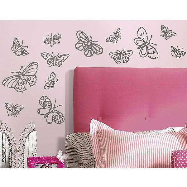 Наклейки для декора Мерцающие бабочкиДетские предметы интерьера<br>Наклейки для декора Мерцающие бабочки, RoomMates, замечательно подойдут для украшения Вашего интерьера, детской комнаты, спальни или мебели. В комплект входят наклейки с изображениями серебристых блестящих бабочек разного размера (всего в наборе 29 наклеек).<br>Наклейки просты в применении и подходят для многоразового использования. Освободите выбранный рисунок от защитного слоя и приклейте на стену или любую другую плоскую гладкую поверхность. Стикеры легко отклеиваются и не оставляют липких следов на поверхности. Нарядные наклейки с красивыми рисунками будут радовать Вашу девочку и создавать атмосферу домашнего уюта.<br><br>Дополнительная информация:<br><br>- В комплекте: 4 листа наклеек (всего 29 наклеек).<br>- Материал: винил.<br>- Размер упаковки: 29,2 х 12,7 х 2,6 см. <br>- Вес: 141 гр. <br><br>Наклейки для декора Мерцающие бабочки, RoomMates, можно купить в нашем интернет-магазине.<br>Ширина мм: 292; Глубина мм: 127; Высота мм: 26; Вес г: 141; Возраст от месяцев: 36; Возраст до месяцев: 144; Пол: Женский; Возраст: Детский; SKU: 4652199;