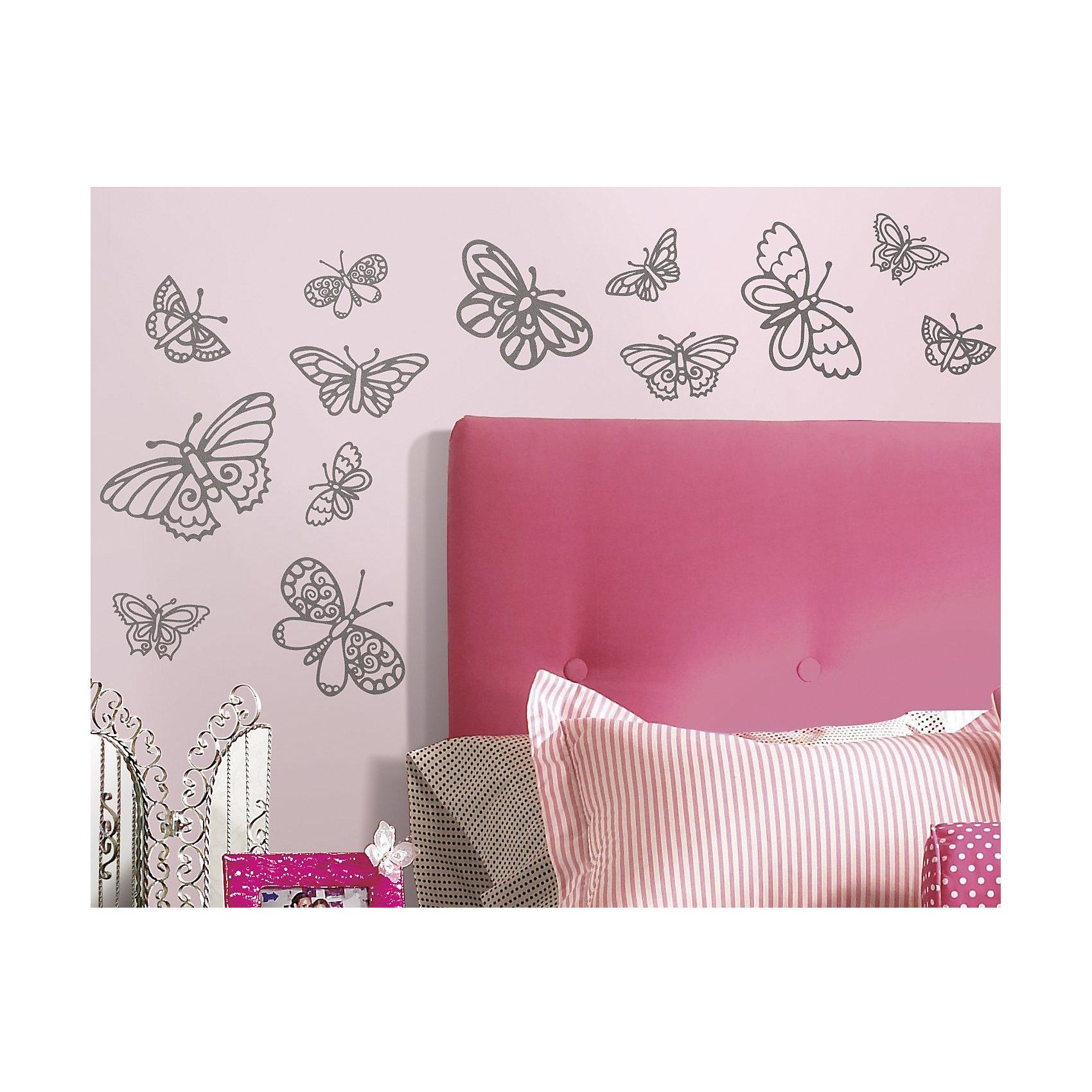 Наклейки для декора Мерцающие бабочкиПредметы интерьера<br>Наклейки для декора Мерцающие бабочки, RoomMates, замечательно подойдут для украшения Вашего интерьера, детской комнаты, спальни или мебели. В комплект входят наклейки с изображениями серебристых блестящих бабочек разного размера (всего в наборе 29 наклеек).<br>Наклейки просты в применении и подходят для многоразового использования. Освободите выбранный рисунок от защитного слоя и приклейте на стену или любую другую плоскую гладкую поверхность. Стикеры легко отклеиваются и не оставляют липких следов на поверхности. Нарядные наклейки с красивыми рисунками будут радовать Вашу девочку и создавать атмосферу домашнего уюта.<br><br>Дополнительная информация:<br><br>- В комплекте: 4 листа наклеек (всего 29 наклеек).<br>- Материал: винил.<br>- Размер упаковки: 29,2 х 12,7 х 2,6 см. <br>- Вес: 141 гр. <br><br>Наклейки для декора Мерцающие бабочки, RoomMates, можно купить в нашем интернет-магазине.<br><br>Ширина мм: 292<br>Глубина мм: 127<br>Высота мм: 26<br>Вес г: 141<br>Возраст от месяцев: 36<br>Возраст до месяцев: 144<br>Пол: Женский<br>Возраст: Детский<br>SKU: 4652199