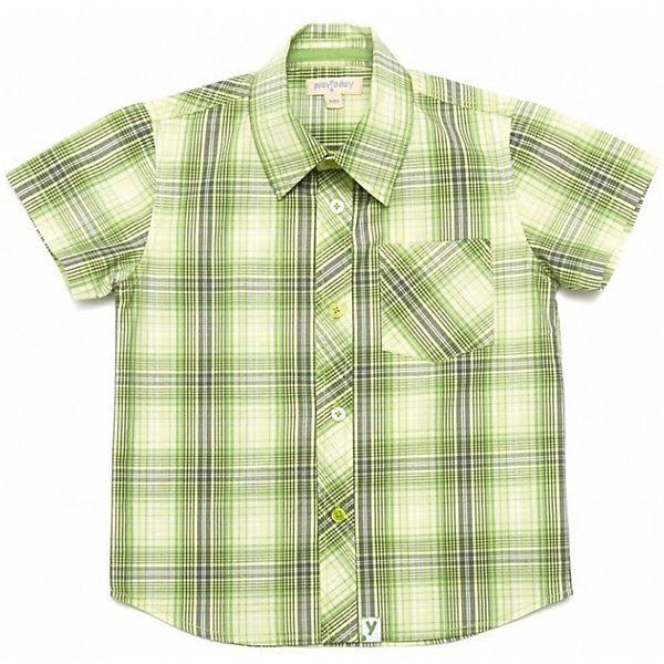 Рубашка для мальчика PlayTodayБлузки и рубашки<br>Клетчатая сорочка с короткими рукавами. Мягкая и удобная, сделана из чистого хлопка. Яркий зеленый цвет поднимет настроение. Застегивается на пуговицы, есть кармашек. Состав: 100% хлопок<br><br>Ширина мм: 174<br>Глубина мм: 10<br>Высота мм: 169<br>Вес г: 157<br>Цвет: желтый<br>Возраст от месяцев: 84<br>Возраст до месяцев: 96<br>Пол: Мужской<br>Возраст: Детский<br>Размер: 128,104,110,116,98,122<br>SKU: 4652346
