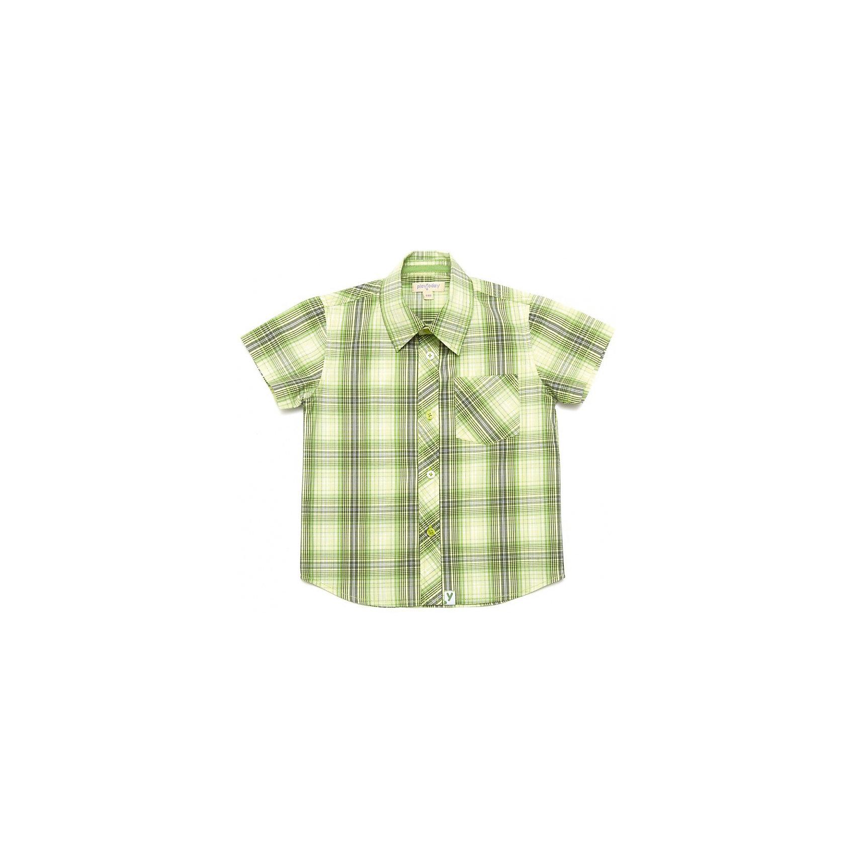 Рубашка для мальчика PlayTodayКлетчатая сорочка с короткими рукавами. Мягкая и удобная, сделана из чистого хлопка. Яркий зеленый цвет поднимет настроение. Застегивается на пуговицы, есть кармашек. Состав: 100% хлопок<br><br>Ширина мм: 174<br>Глубина мм: 10<br>Высота мм: 169<br>Вес г: 157<br>Цвет: желтый<br>Возраст от месяцев: 36<br>Возраст до месяцев: 48<br>Пол: Мужской<br>Возраст: Детский<br>Размер: 104,110,122,128,98,116<br>SKU: 4652346