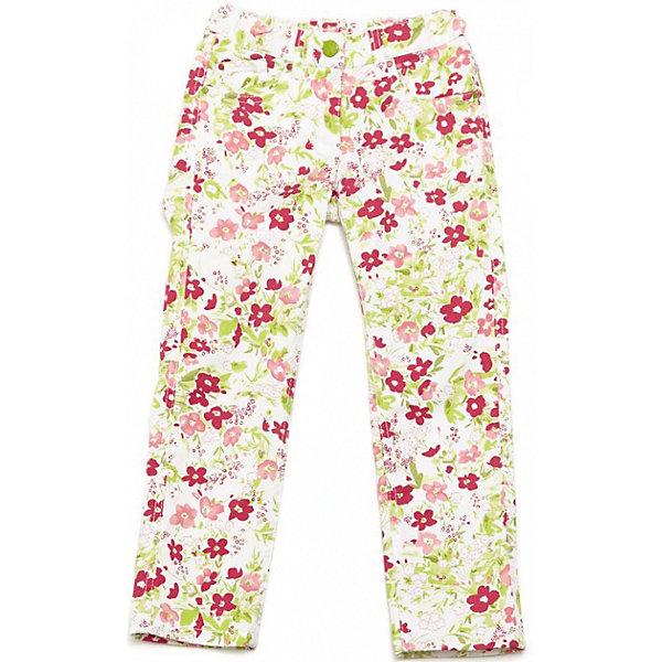 Брюки для девочки PlayTodayБрюки<br>Мягкие хлопковые брюки. Украшены нежными цветочками. Застегиваются на молнию и пуговку, есть 4 кармашка и петельки для ремня. Состав: 98% хлопок, 2% эластан<br><br>Ширина мм: 215<br>Глубина мм: 88<br>Высота мм: 191<br>Вес г: 336<br>Цвет: белый<br>Возраст от месяцев: 84<br>Возраст до месяцев: 96<br>Пол: Женский<br>Возраст: Детский<br>Размер: 128,116,110,122,104,98<br>SKU: 4652353