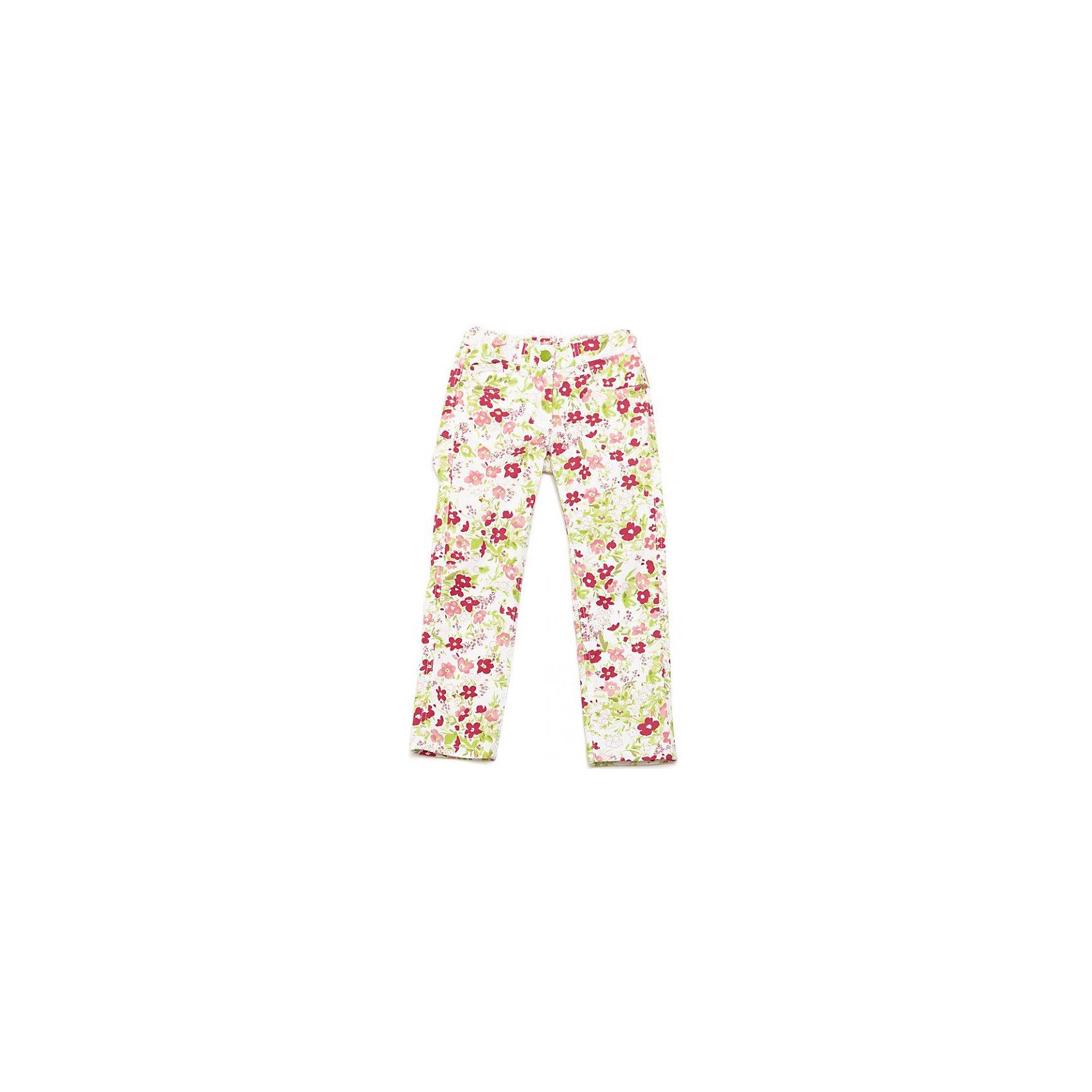 Брюки для девочки PlayTodayМягкие хлопковые брюки. Украшены нежными цветочками. Застегиваются на молнию и пуговку, есть 4 кармашка и петельки для ремня. Состав: 98% хлопок, 2% эластан<br><br>Ширина мм: 215<br>Глубина мм: 88<br>Высота мм: 191<br>Вес г: 336<br>Цвет: белый<br>Возраст от месяцев: 48<br>Возраст до месяцев: 60<br>Пол: Женский<br>Возраст: Детский<br>Размер: 110,104,122,128,98,116<br>SKU: 4652353