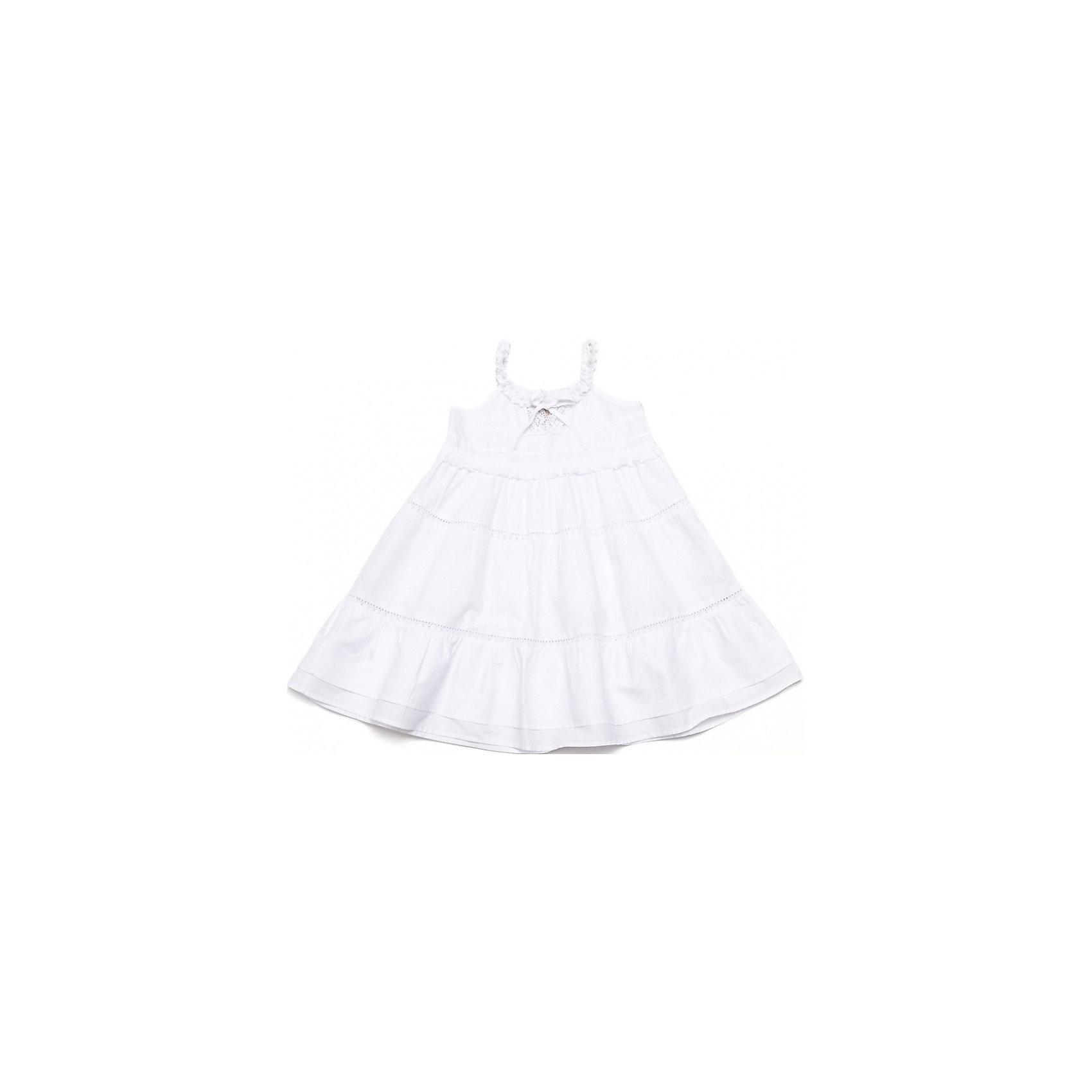 Платье PlayTodayЛетние платья и сарафаны<br>Мягкий сарафан из чистого хлопка. Легкий и нежный, как облачко. Украшен кружевами и отрезными кокетками, подол двойной. Сбоку застежка-молния. Состав: 100% хлопок<br><br>Ширина мм: 236<br>Глубина мм: 16<br>Высота мм: 184<br>Вес г: 177<br>Цвет: белый<br>Возраст от месяцев: 48<br>Возраст до месяцев: 60<br>Пол: Женский<br>Возраст: Детский<br>Размер: 110,98,128,122,104,116<br>SKU: 4652381
