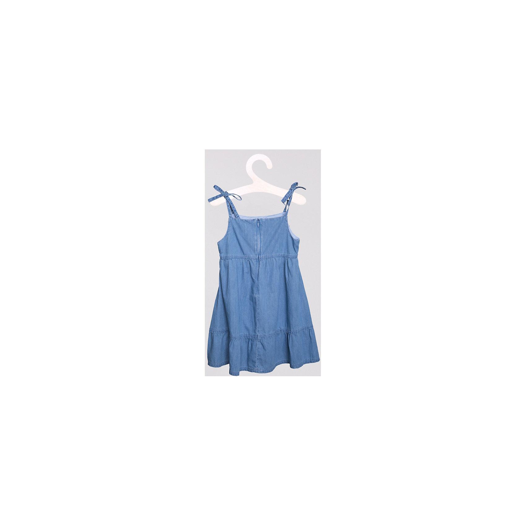 Платье джинсовое PlayTodayДжинсовая одежда<br>Легкий джинсовый сарафан из чистого хлопка. Застегивается на молнию сзади. Сверху украшен бантиком. Завязки регулируются по длине. Состав: 100% хлопок<br><br>Ширина мм: 236<br>Глубина мм: 16<br>Высота мм: 184<br>Вес г: 177<br>Цвет: голубой<br>Возраст от месяцев: 60<br>Возраст до месяцев: 72<br>Пол: Женский<br>Возраст: Детский<br>Размер: 116,122,98,128,110,104<br>SKU: 4652400
