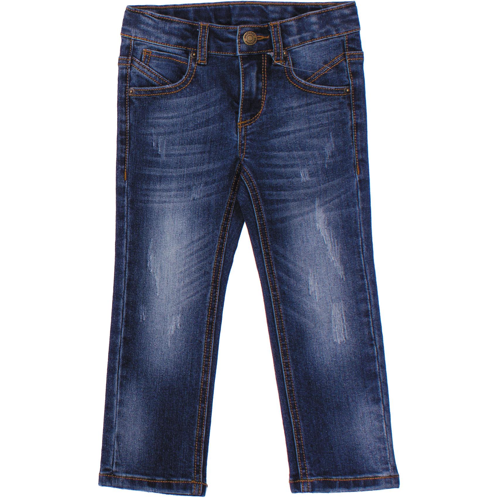 Джинсы для мальчика PlayTodayДжинсы<br>Стильные джинсы с эффектом потертости. Застегиваются на молнию и металлическую кнопку. Есть петельки для ремня. 4 функциональных кармана. Состав: 68% хлопок, 30% полиэстер, 2% эластан<br><br>Ширина мм: 215<br>Глубина мм: 88<br>Высота мм: 191<br>Вес г: 336<br>Цвет: синий<br>Возраст от месяцев: 48<br>Возраст до месяцев: 60<br>Пол: Мужской<br>Возраст: Детский<br>Размер: 110,98,128,122,116,104<br>SKU: 4652428