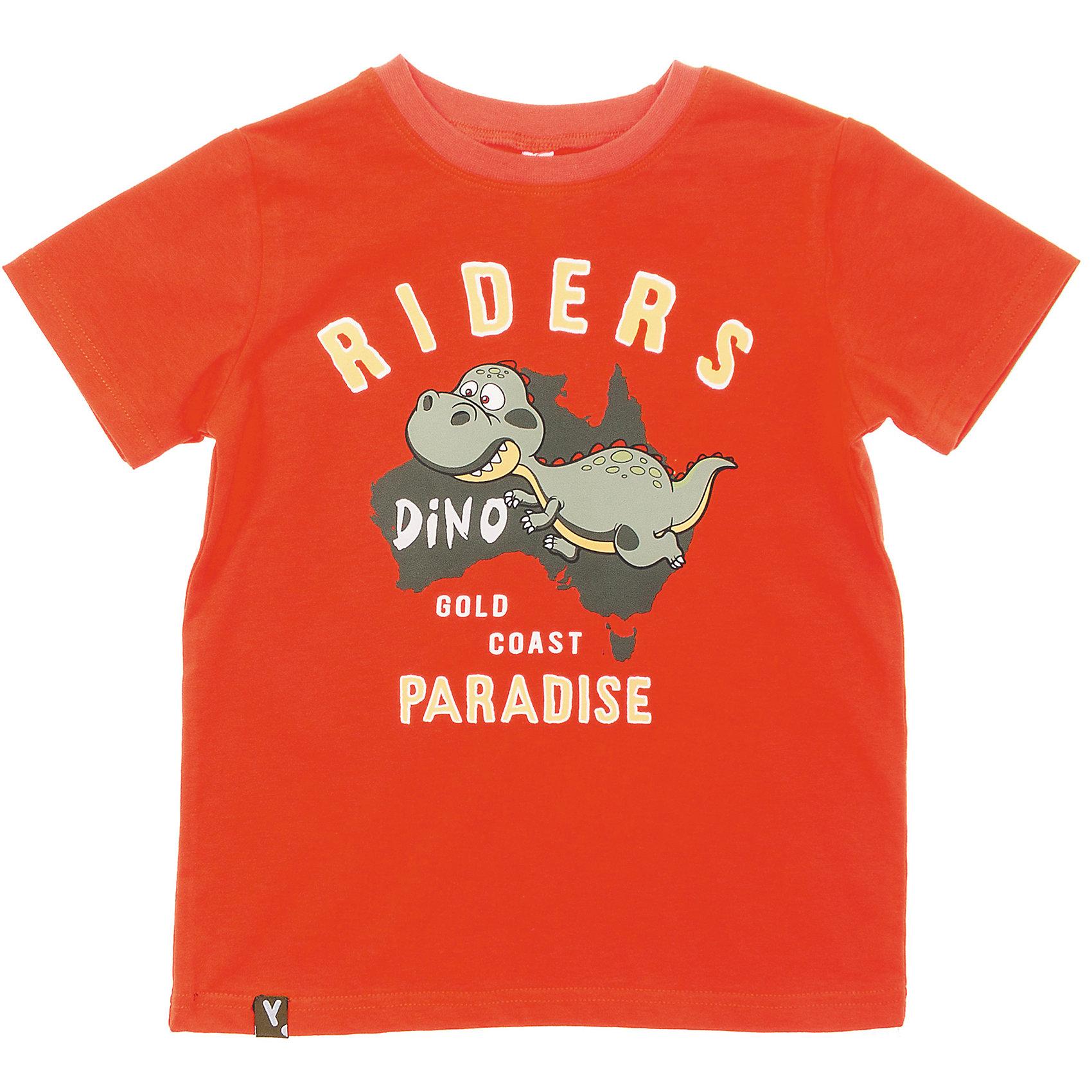 Футболка для мальчика PlayTodayСтильная хлопковая футболка красно-оранжевого цвета. Украшена резиновым принтом с динозавром. На воротнике мягкая резинка. Состав: 95% хлопок, 5% эластан<br><br>Ширина мм: 199<br>Глубина мм: 10<br>Высота мм: 161<br>Вес г: 151<br>Цвет: оранжевый<br>Возраст от месяцев: 84<br>Возраст до месяцев: 96<br>Пол: Мужской<br>Возраст: Детский<br>Размер: 128,98,116,122,110,104<br>SKU: 4652477