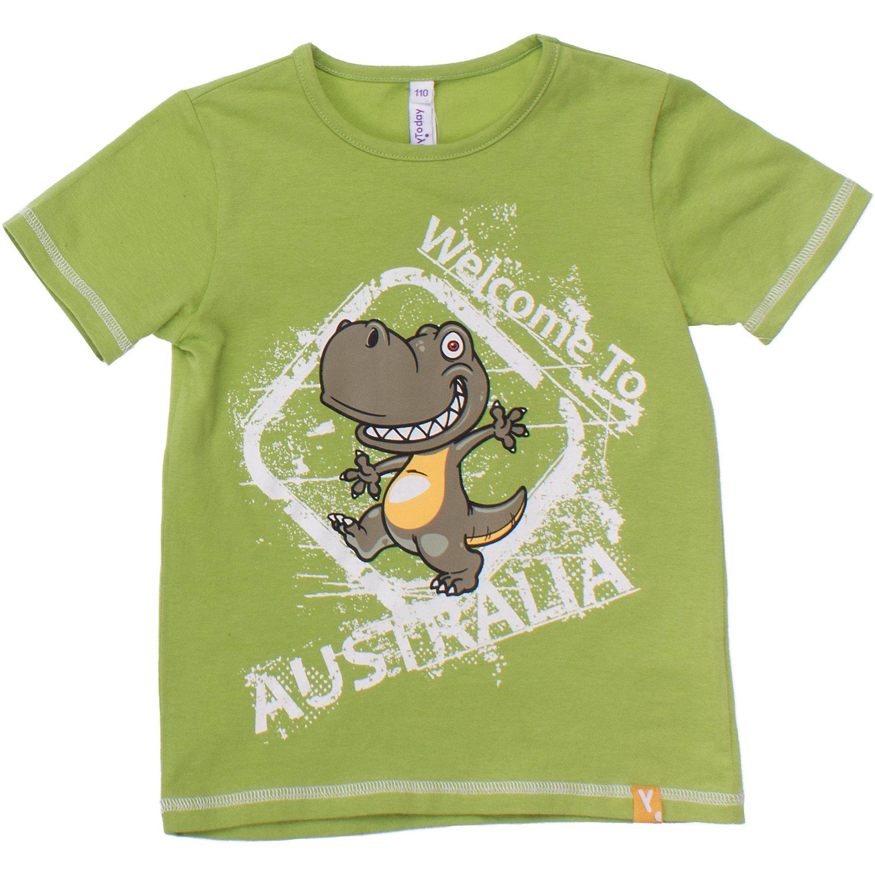 Футболка для мальчика PlayTodayСтильная хлопковая футболка яблочно-зеленого цвета. Украшена резиновым принтом с динозавром. На воротнике мягкая резинка. Состав: 95% хлопок, 5% эластан<br><br>Ширина мм: 199<br>Глубина мм: 10<br>Высота мм: 161<br>Вес г: 151<br>Цвет: зеленый<br>Возраст от месяцев: 24<br>Возраст до месяцев: 36<br>Пол: Мужской<br>Возраст: Детский<br>Размер: 98,122,104,110,116,128<br>SKU: 4652484