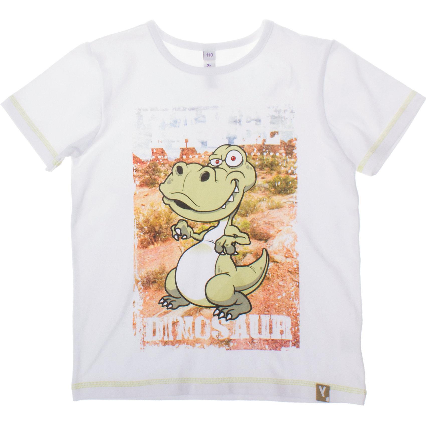 Футболка для мальчика PlayTodayМягкая хлопковая футболка белого цвета. Украшена большим водным принтом с динозавром. Состав: 95% хлопок, 5% эластан<br><br>Ширина мм: 199<br>Глубина мм: 10<br>Высота мм: 161<br>Вес г: 151<br>Цвет: белый<br>Возраст от месяцев: 72<br>Возраст до месяцев: 84<br>Пол: Мужской<br>Возраст: Детский<br>Размер: 98,110,128,104,116,122<br>SKU: 4652498