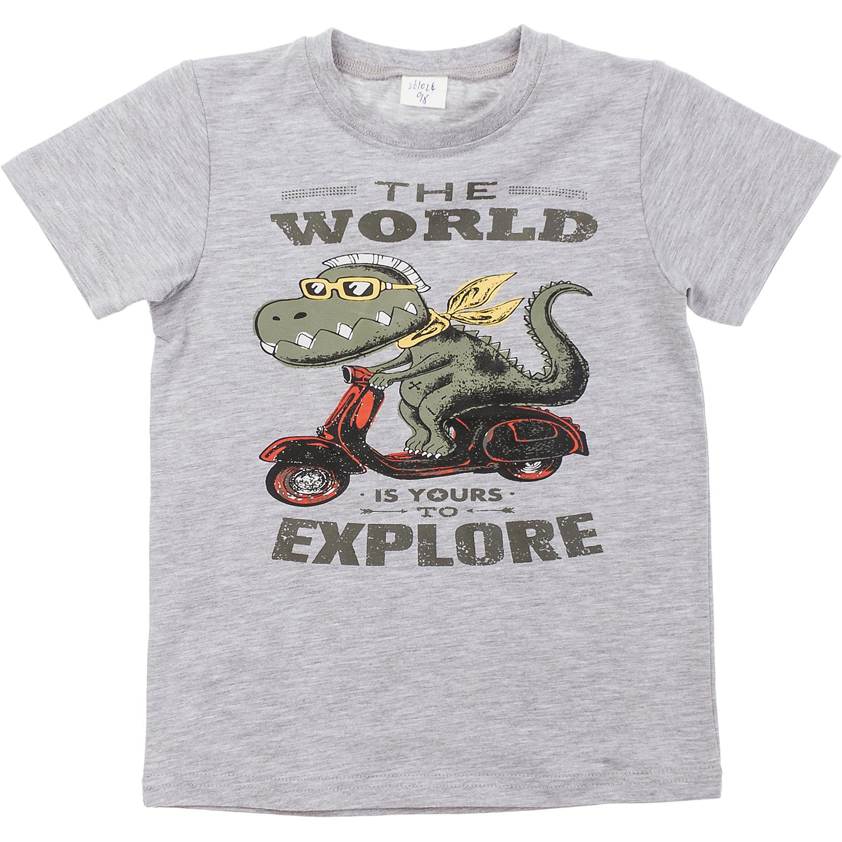 Футболка для мальчика PlayTodayФутболки, поло и топы<br>Легкая хлопковая футболка цвета серый меланж. Украшена резиновым принтом с динозавром. На воротнике мягкая резинка. Состав: 95% хлопок, 5% эластан<br><br>Ширина мм: 199<br>Глубина мм: 10<br>Высота мм: 161<br>Вес г: 151<br>Цвет: серый<br>Возраст от месяцев: 84<br>Возраст до месяцев: 96<br>Пол: Мужской<br>Возраст: Детский<br>Размер: 128,98,122,116,104,110<br>SKU: 4652505