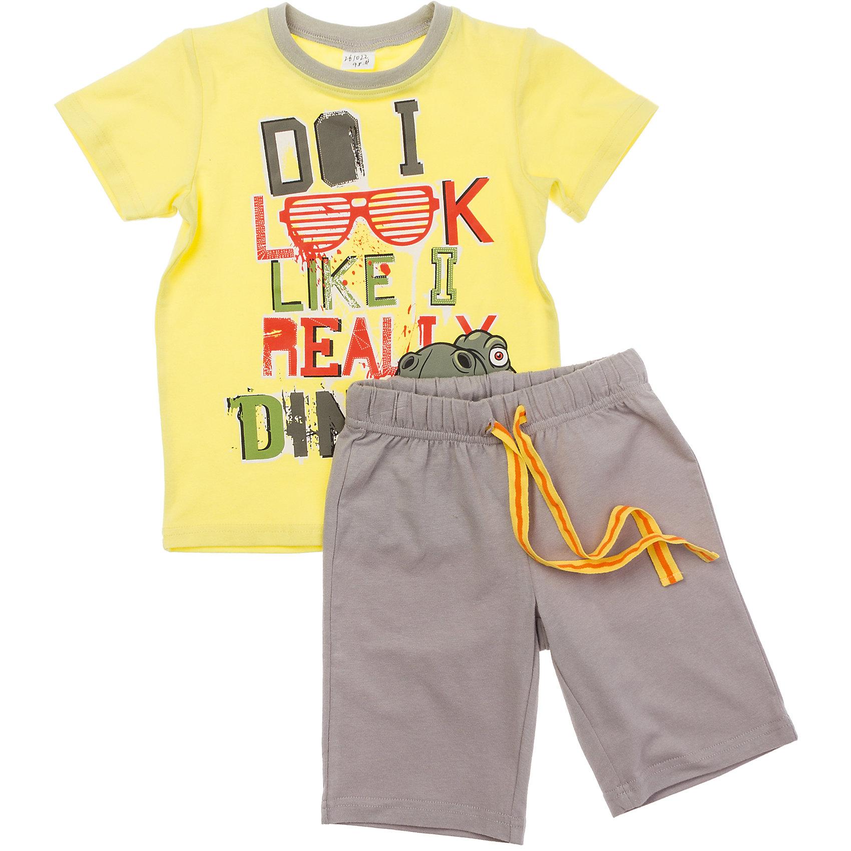 Комплект: футболка и шорты для мальчика PlayTodayКомплект из яркой желтой футболки и шорт цвета хаки. Футболка украшена ярким резиновым принтом, на воротнике мягкая бейка. Пояс шорт на резинке, дополнительно регулируется шнурком. Состав: 95% хлопок, 5% эластан<br><br>Ширина мм: 199<br>Глубина мм: 10<br>Высота мм: 161<br>Вес г: 151<br>Цвет: желтый<br>Возраст от месяцев: 72<br>Возраст до месяцев: 84<br>Пол: Мужской<br>Возраст: Детский<br>Размер: 104,98,128,116,110,122<br>SKU: 4652561