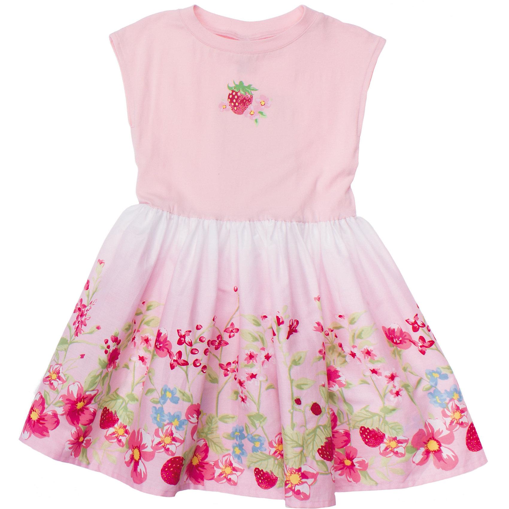 Платье PlayTodayМягкое хлопковое платье нежно-розового цвета. Украшено принтом с цветочками и ягодками. Есть поясок. Состав: Верх: 95% хлопок, 5% эластан; юбка: 100% хлопок<br><br>Ширина мм: 236<br>Глубина мм: 16<br>Высота мм: 184<br>Вес г: 177<br>Цвет: белый<br>Возраст от месяцев: 36<br>Возраст до месяцев: 48<br>Пол: Женский<br>Возраст: Детский<br>Размер: 104,98,116,128,122,110<br>SKU: 4652609