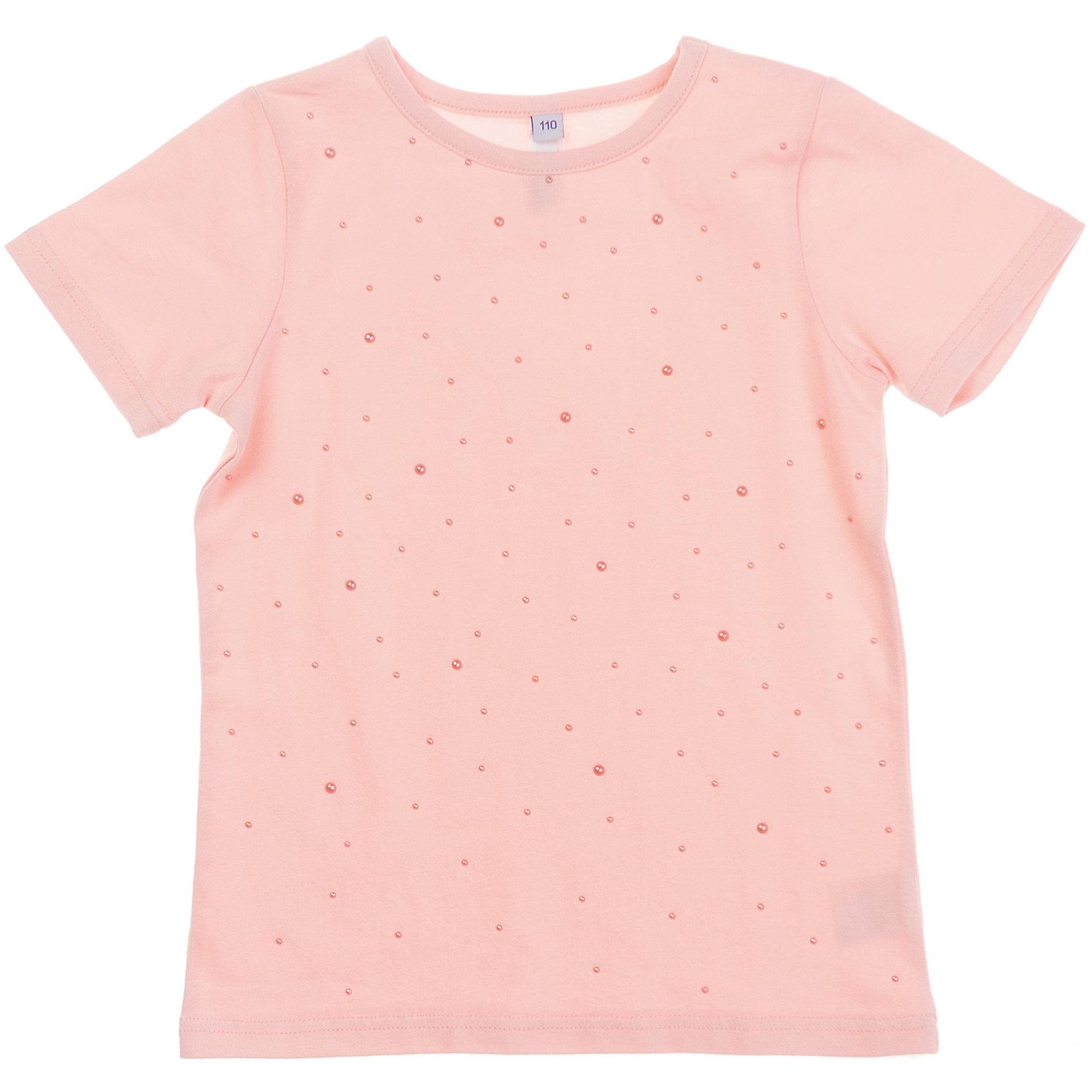 Футболка для девочки PlayTodayНежная футболка клубнично-йогуртового цвета. Украшена пертлумутровыми бусинками. Состав: 95% хлопок, 5% эластан<br><br>Ширина мм: 199<br>Глубина мм: 10<br>Высота мм: 161<br>Вес г: 151<br>Цвет: розовый<br>Возраст от месяцев: 36<br>Возраст до месяцев: 48<br>Пол: Женский<br>Возраст: Детский<br>Размер: 104,110,98,128,122,116<br>SKU: 4652637