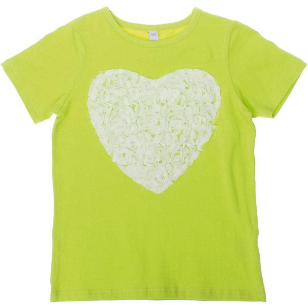 Футболка для девочки PlayTodayФутболки, поло и топы<br>Мягкая хлопковая футболка салатового цвета. Украшена кружевным сердечком. Состав: 95% хлопок, 5% эластан<br><br>Ширина мм: 199<br>Глубина мм: 10<br>Высота мм: 161<br>Вес г: 151<br>Цвет: зеленый<br>Возраст от месяцев: 84<br>Возраст до месяцев: 96<br>Пол: Женский<br>Возраст: Детский<br>Размер: 128,122,98,116,104,110<br>SKU: 4652644