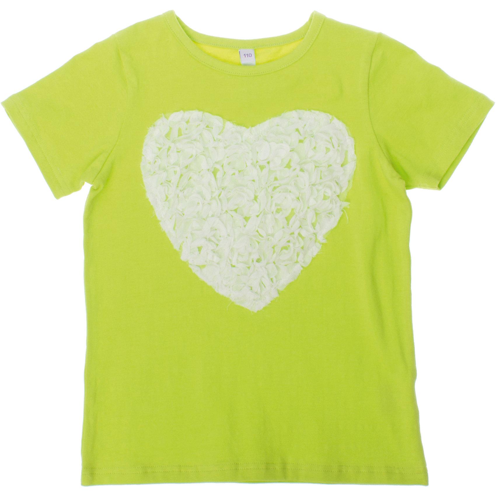 Футболка для девочки PlayTodayФутболки, поло и топы<br>Мягкая хлопковая футболка салатового цвета. Украшена кружевным сердечком. Состав: 95% хлопок, 5% эластан<br><br>Ширина мм: 199<br>Глубина мм: 10<br>Высота мм: 161<br>Вес г: 151<br>Цвет: зеленый<br>Возраст от месяцев: 60<br>Возраст до месяцев: 72<br>Пол: Женский<br>Возраст: Детский<br>Размер: 116,98,128,122,110,104<br>SKU: 4652644