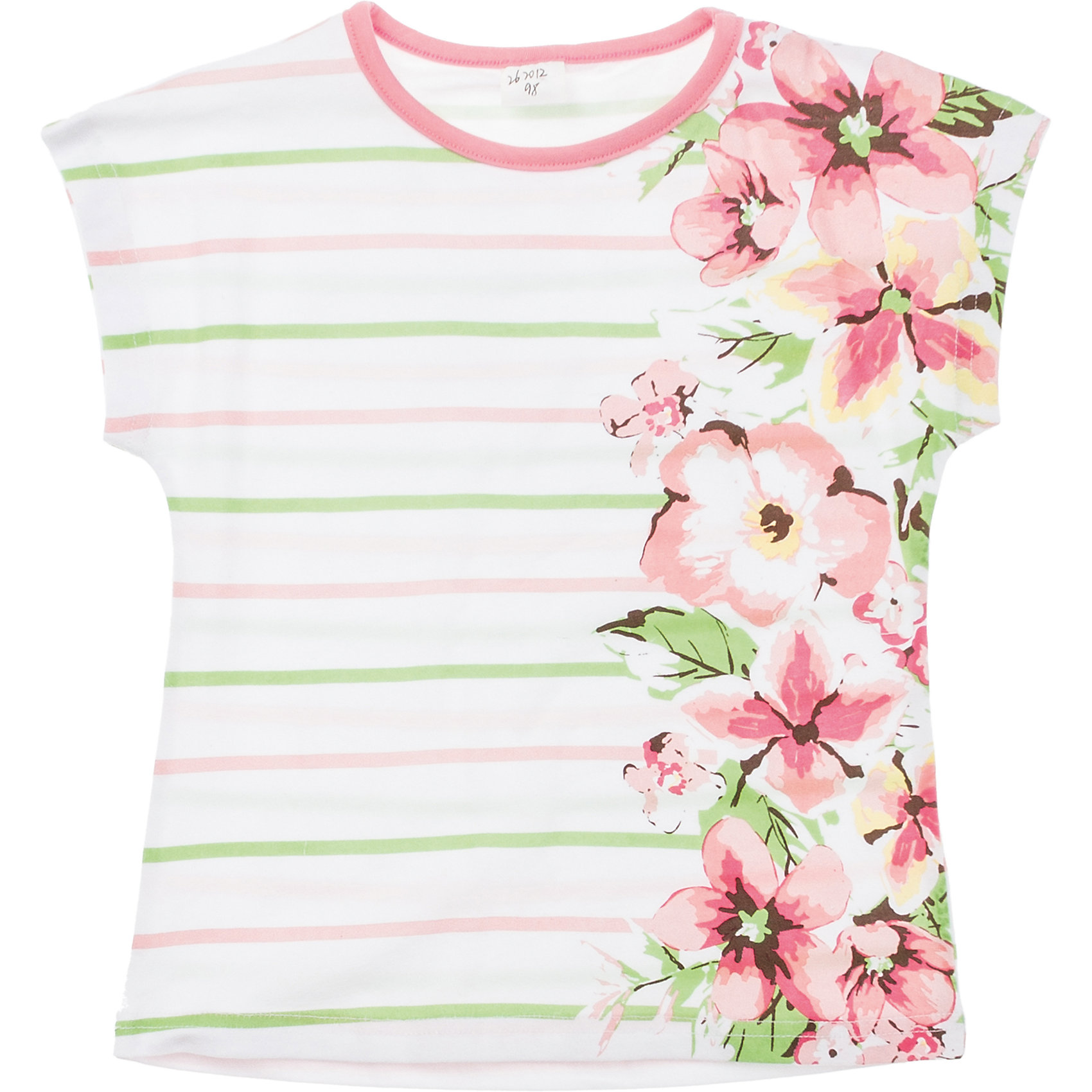 Футболка для девочки PlayTodayМягкая футболка с нежными цветочками. Удобный рукав-реглан, воротник на резинке персикового цвета. Состав: 95% хлопок, 5% эластан<br><br>Ширина мм: 199<br>Глубина мм: 10<br>Высота мм: 161<br>Вес г: 151<br>Цвет: белый<br>Возраст от месяцев: 36<br>Возраст до месяцев: 48<br>Пол: Женский<br>Возраст: Детский<br>Размер: 104,122,98,116,110,128<br>SKU: 4652658