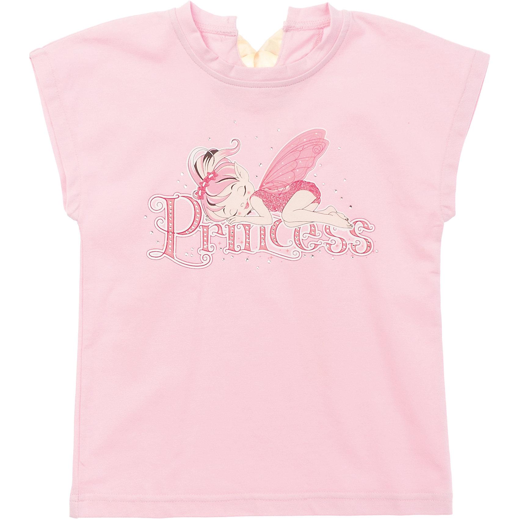 Футболка для девочки PlayTodayФутболки, поло и топы<br>Мягкая хлопковая футболка клубнично-розового цвета. Украшена резиновым принтом с феей, глиттером и стразами. Состав: 95% хлопок, 5% эластан<br><br>Ширина мм: 199<br>Глубина мм: 10<br>Высота мм: 161<br>Вес г: 151<br>Цвет: розовый<br>Возраст от месяцев: 36<br>Возраст до месяцев: 48<br>Пол: Женский<br>Возраст: Детский<br>Размер: 104,116,110,98,128,122<br>SKU: 4652672
