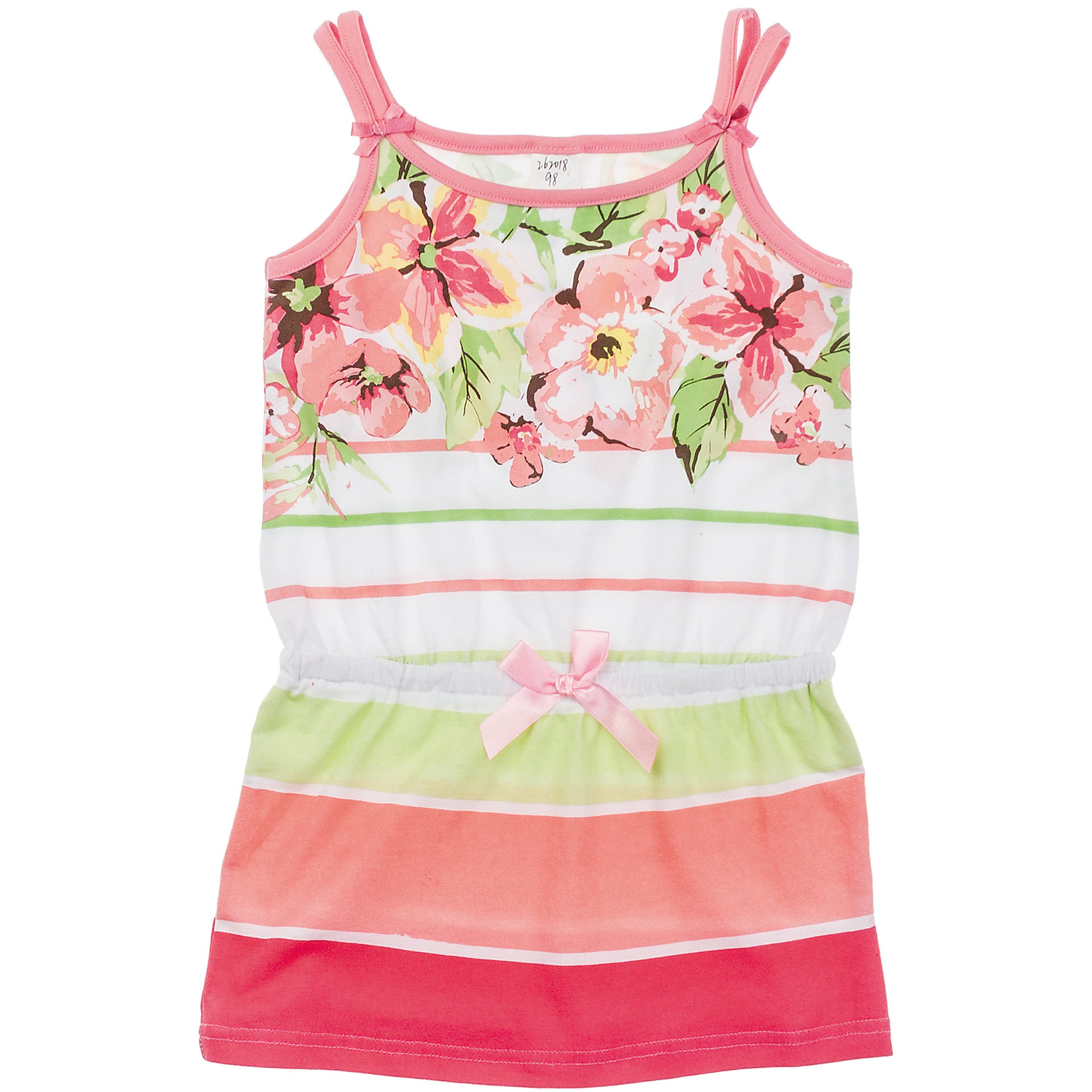Платье PlayTodayМягкое хлопковое платье в полоску. Украшено водным принтом с нежными цветочками. Пояс на резинке, спереди и сзади бантики. Состав: 95% хлопок, 5% эластан<br><br>Ширина мм: 236<br>Глубина мм: 16<br>Высота мм: 184<br>Вес г: 177<br>Цвет: белый<br>Возраст от месяцев: 48<br>Возраст до месяцев: 60<br>Пол: Женский<br>Возраст: Детский<br>Размер: 110,116,104,128,98,122<br>SKU: 4652693