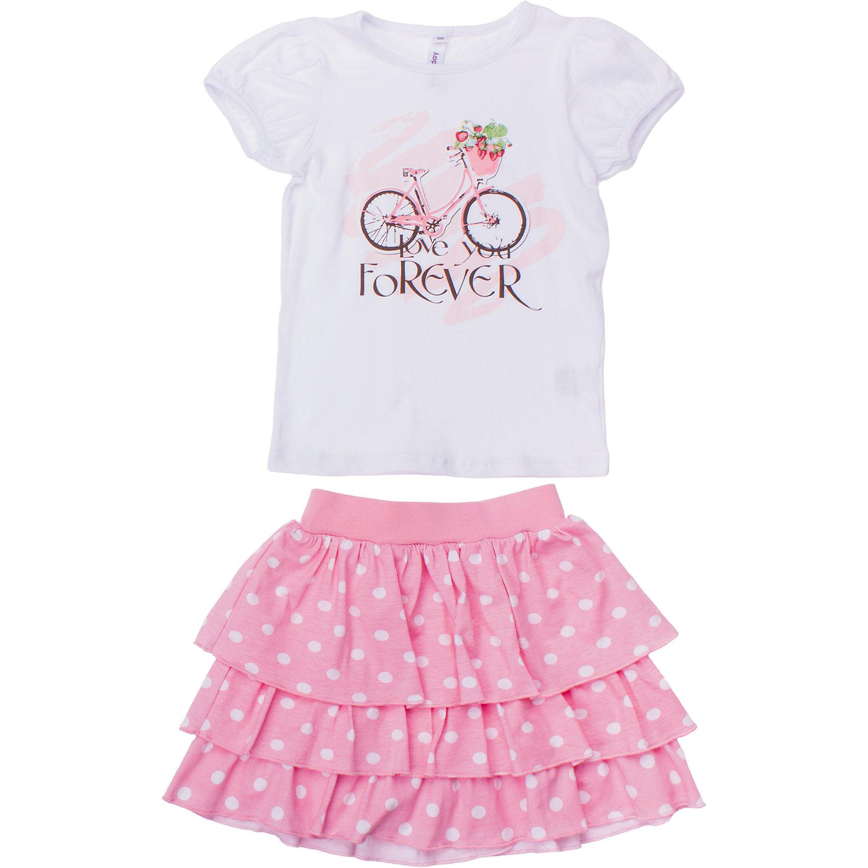 Комплект: футболка и юбка PlayTodayКомплект из хлопковой футболки и юбки. Футболка украшена мягким волным принтом. Рукава-фонарики придают кокетства. Юбка многослойная и воздушная. Принт - белый горошек. Пояс на мягкой широкой резинке. Состав: 95% хлопок, 5% эластан<br><br>Ширина мм: 199<br>Глубина мм: 10<br>Высота мм: 161<br>Вес г: 151<br>Цвет: белый<br>Возраст от месяцев: 36<br>Возраст до месяцев: 48<br>Пол: Женский<br>Возраст: Детский<br>Размер: 122,98,104,128,110,116<br>SKU: 4652700