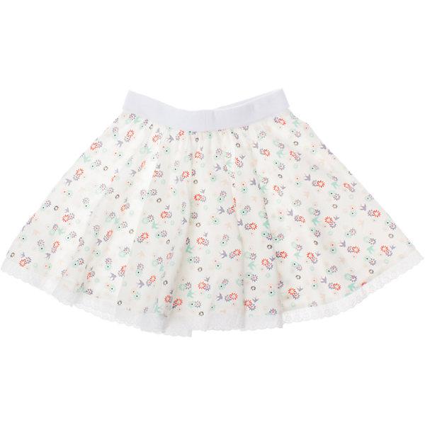 Юбка PlayTodayЮбки<br>Мягкая и уютная хлопковая юбка. Украшена принтом с нежными цветочками и ягодками. Пояс на широкой резинке. Низ украшен кружевами. Состав: 95% хлопок, 5% эластан<br>Ширина мм: 207; Глубина мм: 10; Высота мм: 189; Вес г: 183; Цвет: белый; Возраст от месяцев: 72; Возраст до месяцев: 84; Пол: Женский; Возраст: Детский; Размер: 122,98,128,116,104,110; SKU: 4652714;