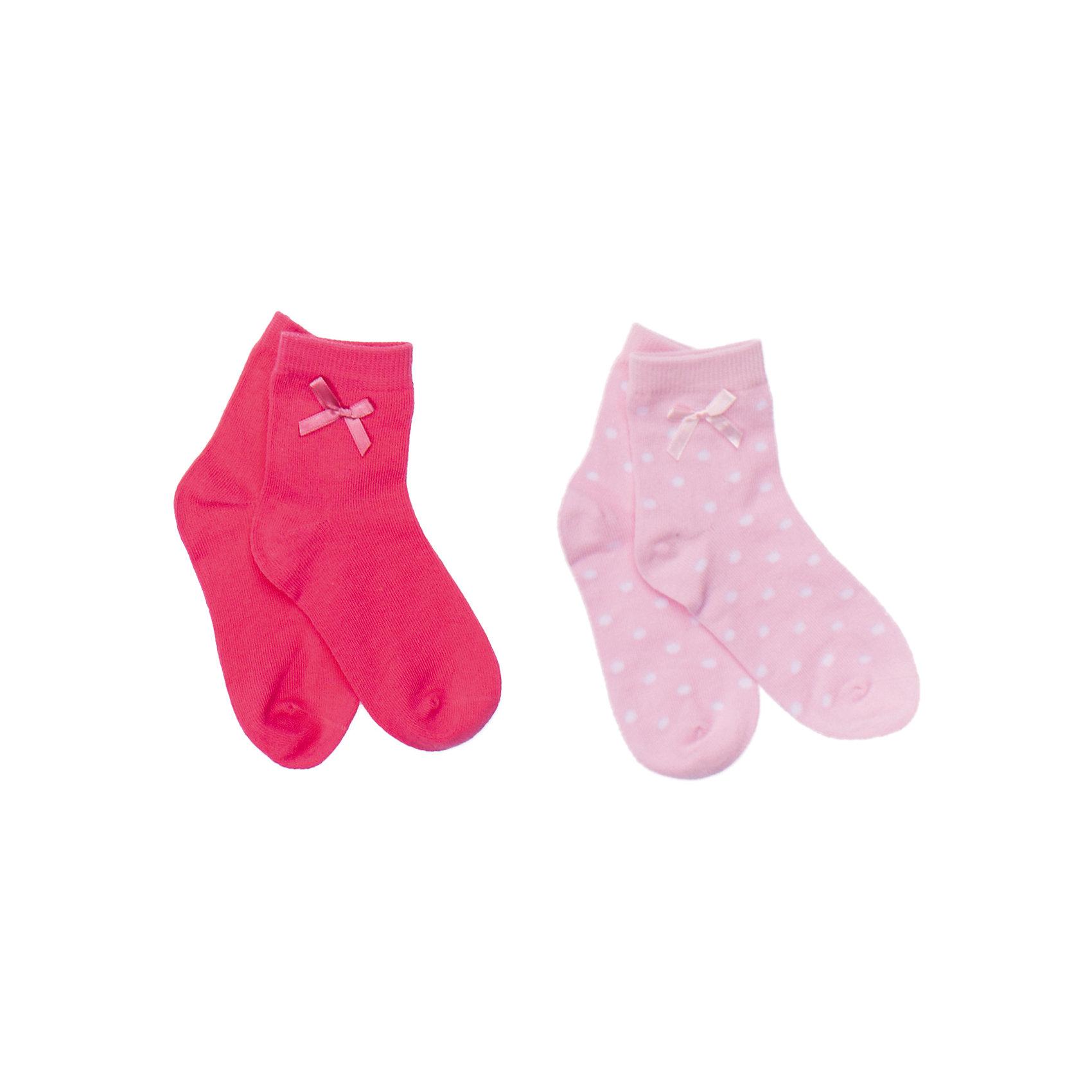 Носки (2 шт.) для девочки PlayTodayКомплект из двух пар носочков. Цвета - фуксия и нежно-розовый в горошек. Мягкие и уютные, украшены атласными бантиками. Состав: 75% хлопок, 22% нейлон, 3% эластан<br><br>Ширина мм: 87<br>Глубина мм: 10<br>Высота мм: 105<br>Вес г: 115<br>Цвет: розовый<br>Возраст от месяцев: 15<br>Возраст до месяцев: 24<br>Пол: Женский<br>Возраст: Детский<br>Размер: 14,18,16<br>SKU: 4652739