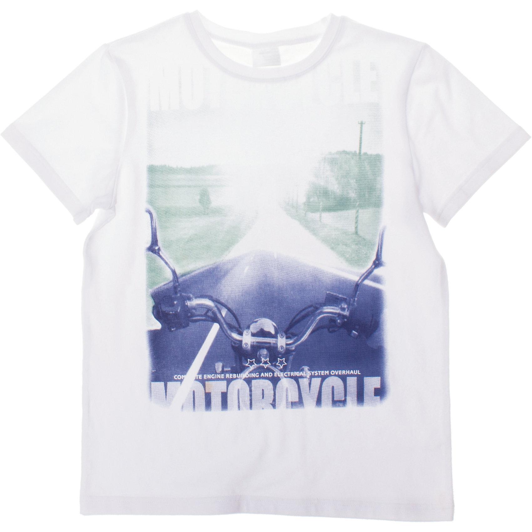Футболка для мальчика ScoolФутболки, поло и топы<br>Мягкая хлопковая футболка белого цвета.Воротник на резинке. Украшена крупным водным фотопринтом с мотоциклом. Состав: 95% хлопок, 5% эластан<br><br>Ширина мм: 199<br>Глубина мм: 10<br>Высота мм: 161<br>Вес г: 151<br>Цвет: белый<br>Возраст от месяцев: 108<br>Возраст до месяцев: 120<br>Пол: Мужской<br>Возраст: Детский<br>Размер: 140,134,158,164,152,146<br>SKU: 4652778