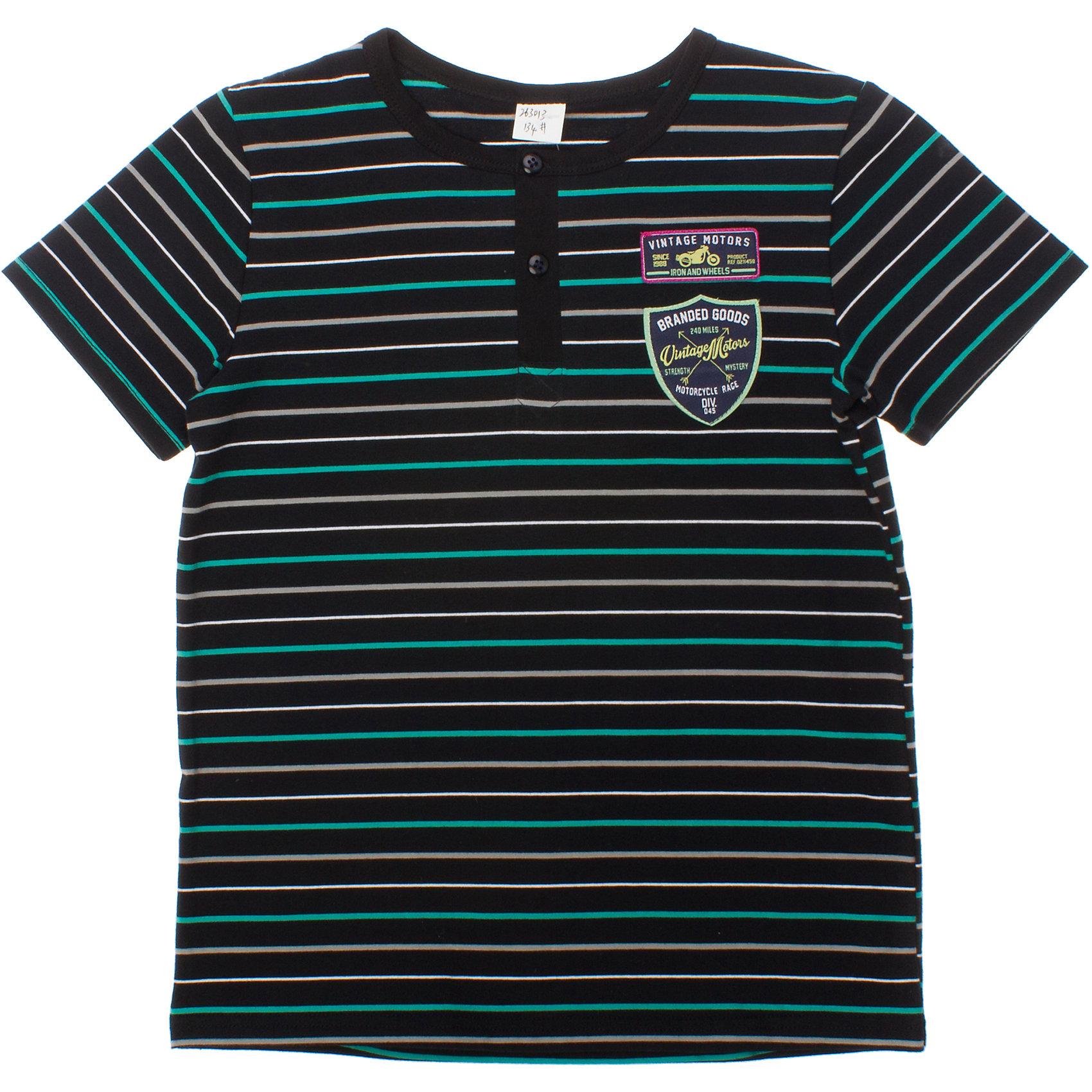 Футболка для мальчика ScoolФутболки, поло и топы<br>Стильная темно-синяя футболка с яркими полосками. Застежка-поло, воротник на мягкой резинке. Украшена аппликациями с мотоциклами. Состав: 95% хлопок, 5% эластан<br><br>Ширина мм: 199<br>Глубина мм: 10<br>Высота мм: 161<br>Вес г: 151<br>Цвет: синий<br>Возраст от месяцев: 120<br>Возраст до месяцев: 132<br>Пол: Мужской<br>Возраст: Детский<br>Размер: 146,140,134,164,158,152<br>SKU: 4652799