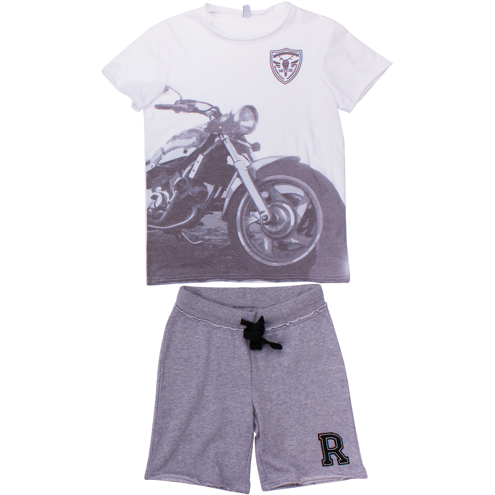 Комплект: футболка и шорты для мальчика ScoolКомплект из хлопковых шорт и футболки. Футболка украшена крупным водным фотопринтом с мотоциклом. Шорты цвета серый меланж. Пояс на резинке, дополнительно регулируется широким шнурком. Стильный необработанные края. Состав: 80% хлопок, 20% полиэстер<br><br>Ширина мм: 199<br>Глубина мм: 10<br>Высота мм: 161<br>Вес г: 151<br>Цвет: белый<br>Возраст от месяцев: 144<br>Возраст до месяцев: 156<br>Пол: Мужской<br>Возраст: Детский<br>Размер: 158,164,140,146,134,152<br>SKU: 4652806