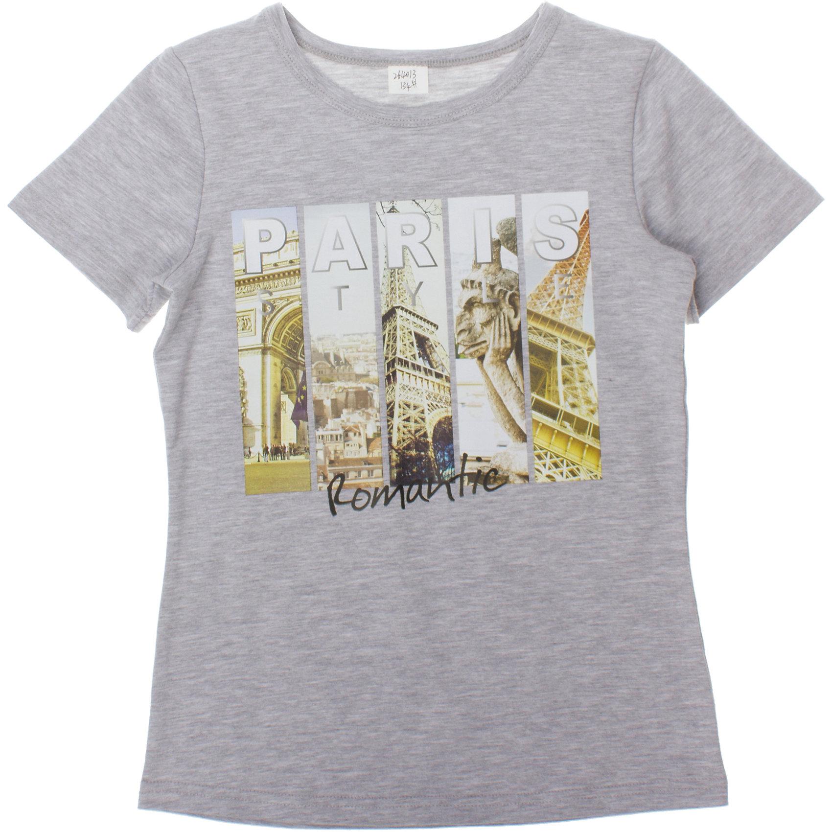 Футболка для девочки ScoolСтильная хлопковая футболка цвета серый меланж.Украшена резиновым фотопринтом с видами Парижа. Состав: 95% хлопок, 5% эластан<br><br>Ширина мм: 199<br>Глубина мм: 10<br>Высота мм: 161<br>Вес г: 151<br>Цвет: серый<br>Возраст от месяцев: 108<br>Возраст до месяцев: 120<br>Пол: Женский<br>Возраст: Детский<br>Размер: 140,134,146,152,164,158<br>SKU: 4652873