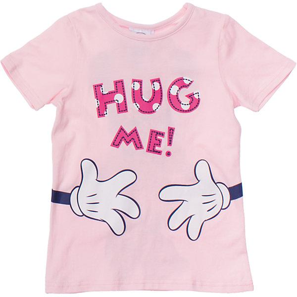 Футболка для девочки PlayTodayФутболки, поло и топы<br>Уютная футболка клубнично-йогуртового цвета. Украшена забавным принтом с Минни-маус спереди и сзади. Состав: 95% хлопок, 5% эластан<br>Ширина мм: 199; Глубина мм: 10; Высота мм: 161; Вес г: 151; Цвет: розовый; Возраст от месяцев: 72; Возраст до месяцев: 84; Пол: Женский; Возраст: Детский; Размер: 122,116,110,98,128,104; SKU: 4652919;