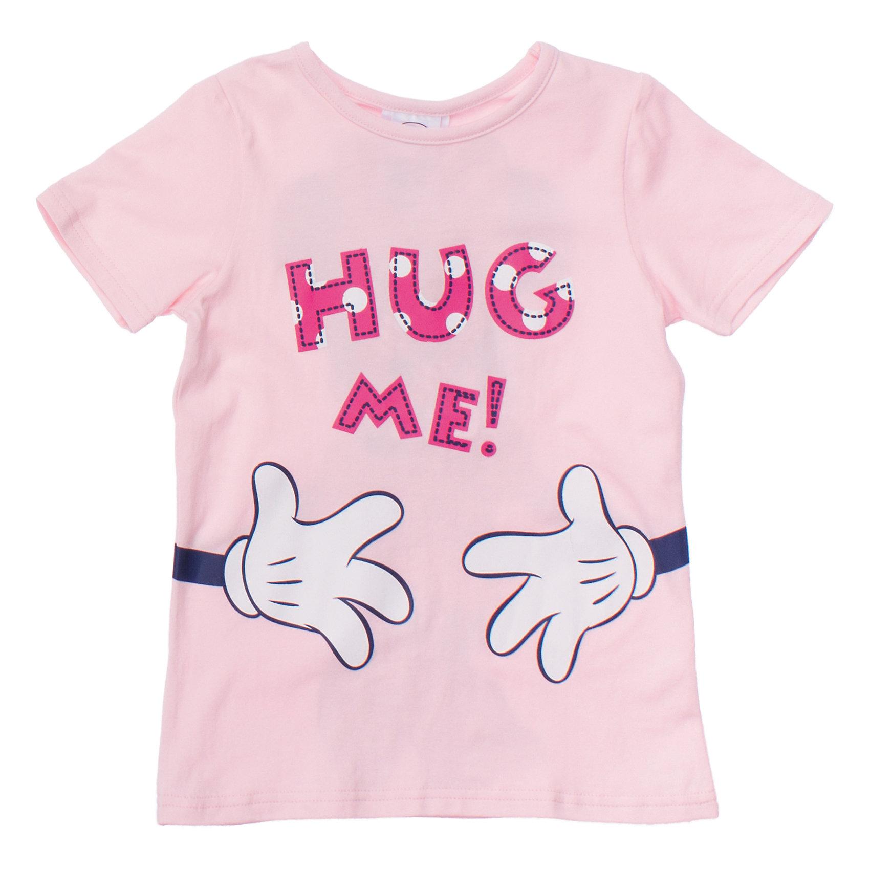 Футболка для девочки PlayTodayУютная футболка клубнично-йогуртового цвета. Украшена забавным принтом с Минни-маус спереди и сзади. Состав: 95% хлопок, 5% эластан<br><br>Ширина мм: 199<br>Глубина мм: 10<br>Высота мм: 161<br>Вес г: 151<br>Цвет: розовый<br>Возраст от месяцев: 36<br>Возраст до месяцев: 48<br>Пол: Женский<br>Возраст: Детский<br>Размер: 104,116,110,98,128,122<br>SKU: 4652919