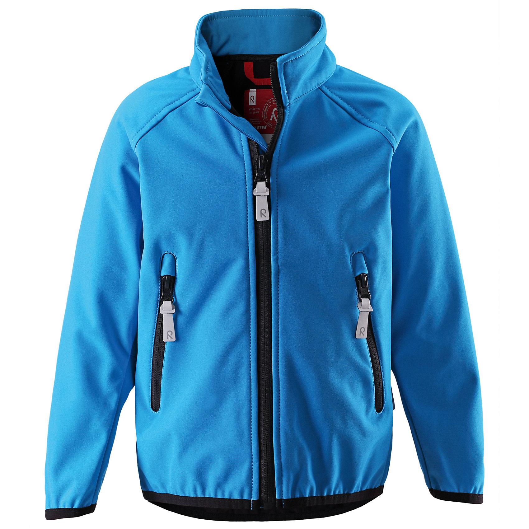 Куртка Soft shell ReimaКуртка Soft shell от финской марки Reima.<br>Куртка из материала softshell для детей и подростков. Из ветронепроницаемого материала, но изделие «дышит». Эластичная резинка на воротнике, манжетах и подоле. Карманы на молнии.<br>Состав:<br>96% ПЭ 4% ЭЛ, ПУ-ламинация<br><br>Ширина мм: 356<br>Глубина мм: 10<br>Высота мм: 245<br>Вес г: 519<br>Цвет: голубой<br>Возраст от месяцев: 84<br>Возраст до месяцев: 96<br>Пол: Унисекс<br>Возраст: Детский<br>Размер: 128,158,122,140,152,146,134,110<br>SKU: 4653136