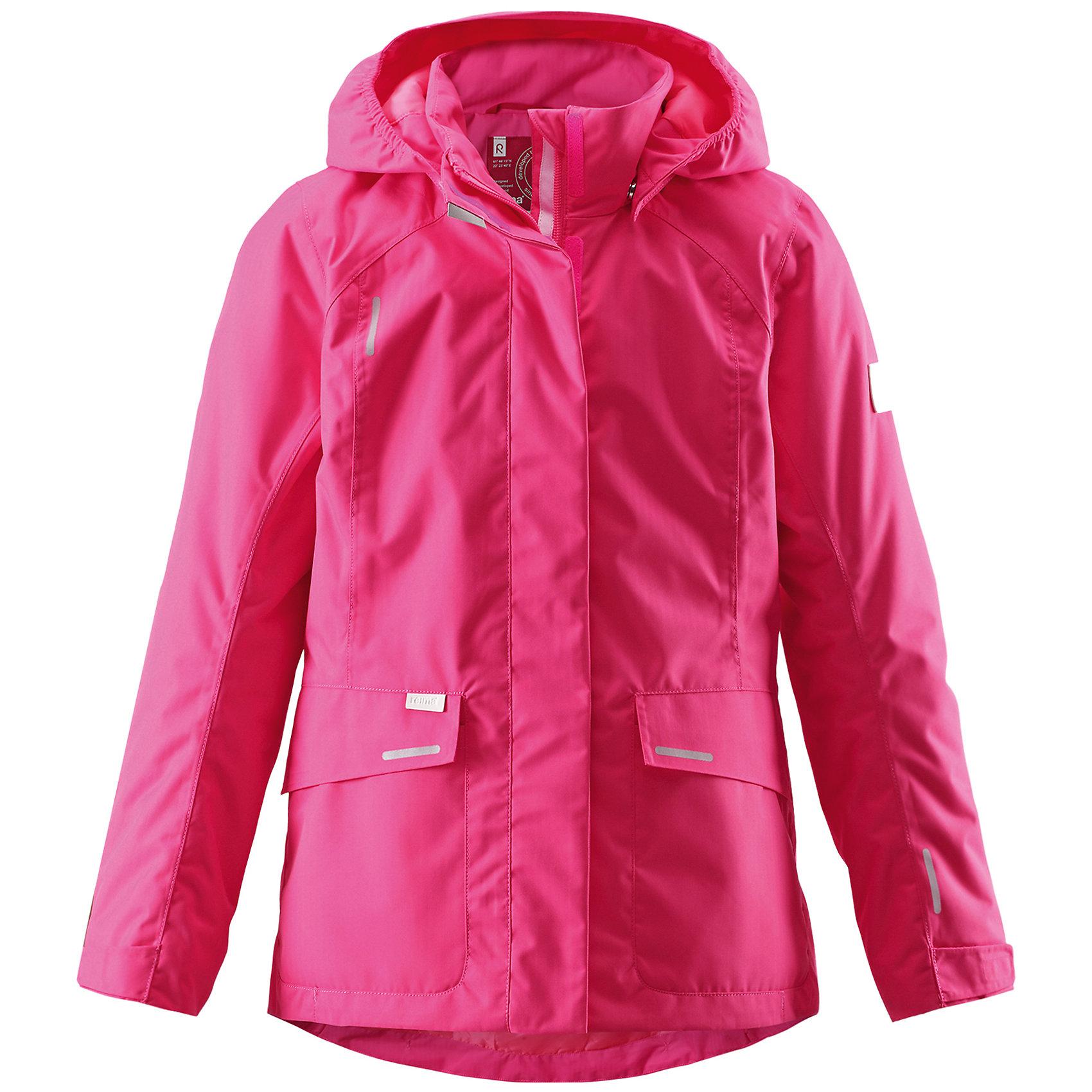 Куртка для девочки ReimaКуртка для девочки от финской марки Reima.<br>Куртка демисезонная для подростков. Основные швы проклеены и не пропускают влагу. Водоотталкивающий, ветронепроницаемый, «дышащий» и грязеотталкивающий материал. Легкая степень утепления. Безопасный, отстегивающийся и регулируемый капюшон. Регулируемые манжеты. Регулируемый обхват талии. Два прорезных кармана.<br>Состав:<br>100% ПЭ, ПУ-покрытие<br><br>Ширина мм: 356<br>Глубина мм: 10<br>Высота мм: 245<br>Вес г: 519<br>Цвет: розовый<br>Возраст от месяцев: 48<br>Возраст до месяцев: 60<br>Пол: Женский<br>Возраст: Детский<br>Размер: 110,104,140,134,116<br>SKU: 4653224
