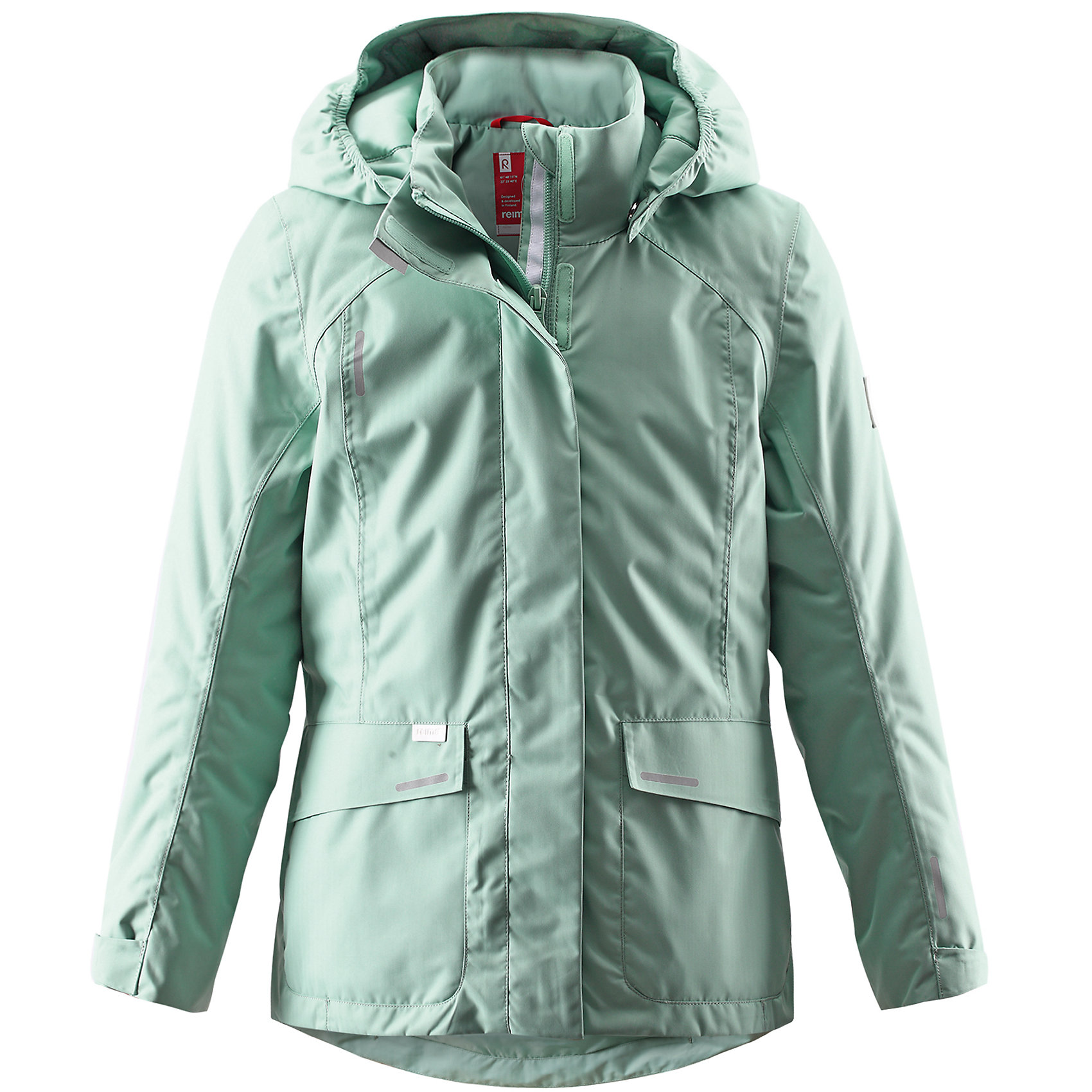 Куртка для девочки ReimaКуртка для девочки от финской марки Reima.<br>Куртка демисезонная для подростков. Основные швы проклеены и не пропускают влагу. Водоотталкивающий, ветронепроницаемый, «дышащий» и грязеотталкивающий материал. Легкая степень утепления. Безопасный, отстегивающийся и регулируемый капюшон. Регулируемые манжеты. Регулируемый обхват талии. Два прорезных кармана.<br>Состав:<br>100% ПЭ, ПУ-покрытие<br><br>Ширина мм: 356<br>Глубина мм: 10<br>Высота мм: 245<br>Вес г: 519<br>Цвет: серый<br>Возраст от месяцев: 60<br>Возраст до месяцев: 72<br>Пол: Женский<br>Возраст: Детский<br>Размер: 116,104,110,122,128,140,164,134<br>SKU: 4653230