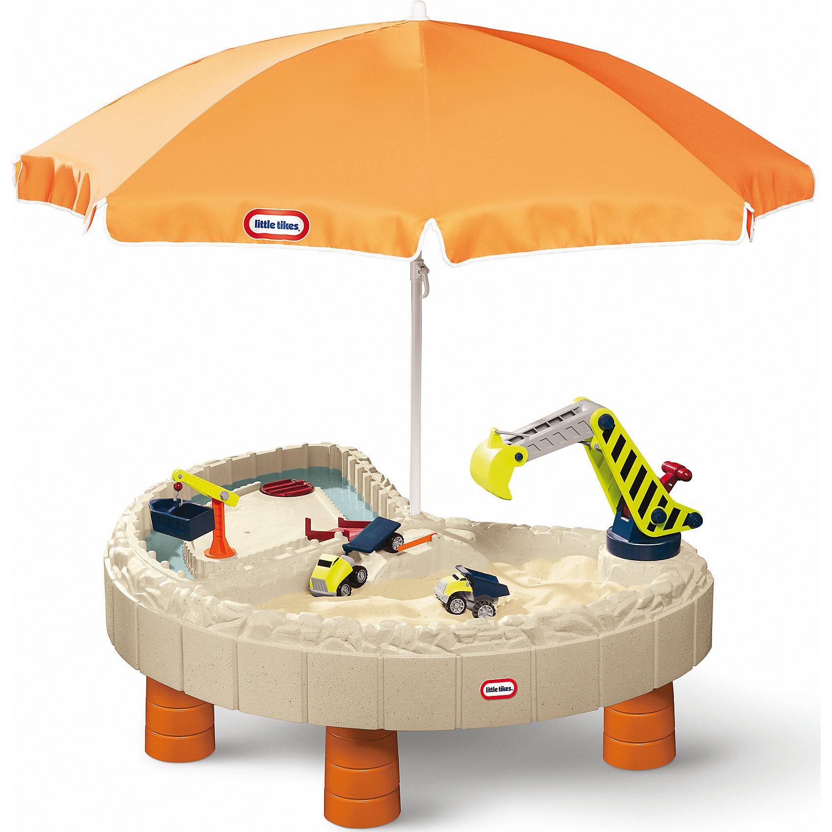 Стол-песочница с зонтом и зоной для воды, Little TikesИграем в песочнице<br>В комплект входят: кран, строительный ковш, 2 грузовика, ворота и мостики, 2 крышки, которые защитят стол от дождя, пыли, домашних животных. Стол прекрасно подходит для игры на воздухе в весенне-летний период, большой зонт надежно защитит малышей от палящего солнца в жаркие летние дни, а 2 игровые зоны  (для песка и для воды) предоставляют широкие возможности для увлекательной игры нескольких детей одновременно. Для детей от 2 до 6 лет. Размеры стола в собранном виде: 136 х 112 х 55см. Размеры упаковки: 138х 113х28см. Вес упаковки: 15,9 кг. Объем упаковки: 0,4 м3.)<br><br>Ширина мм: 138<br>Глубина мм: 113<br>Высота мм: 280<br>Вес г: 1584<br>Возраст от месяцев: 24<br>Возраст до месяцев: 60<br>Пол: Мужской<br>Возраст: Детский<br>SKU: 4653313