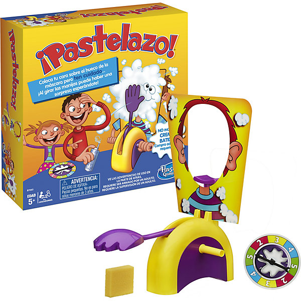 Игра Пирог в лицо, HasbroХиты продаж<br>Настольная игра от Hasbro - Пирог в лицо! В набор настольной игры входят: игровая катапульта, рука для запуска, 2 ручки для прокручивания механизма, фиксатор подбородка, маска с овальным отвестием для лица, рулетка, губка и подробная инструкция. Использовать можно не только пирог, но и взбитые сливки, мороженое, пену для бритья - все зависит только от вашей фантазии. Правила игры просты, она представляет собой подобие русской рулетки: нужно поместить голову в специальное отверстие на панели с смешными нарисованными ушами, затем крутить рулетку и поворачивать ручки столько раз, сколько выпадет. Когда сработает механизм - никто не знает, именно поэтому игра такая смешная и увлекательная!<br>Ширина мм: 270; Глубина мм: 270; Высота мм: 85; Вес г: 603; Возраст от месяцев: 60; Возраст до месяцев: 192; Пол: Унисекс; Возраст: Детский; SKU: 4653321;