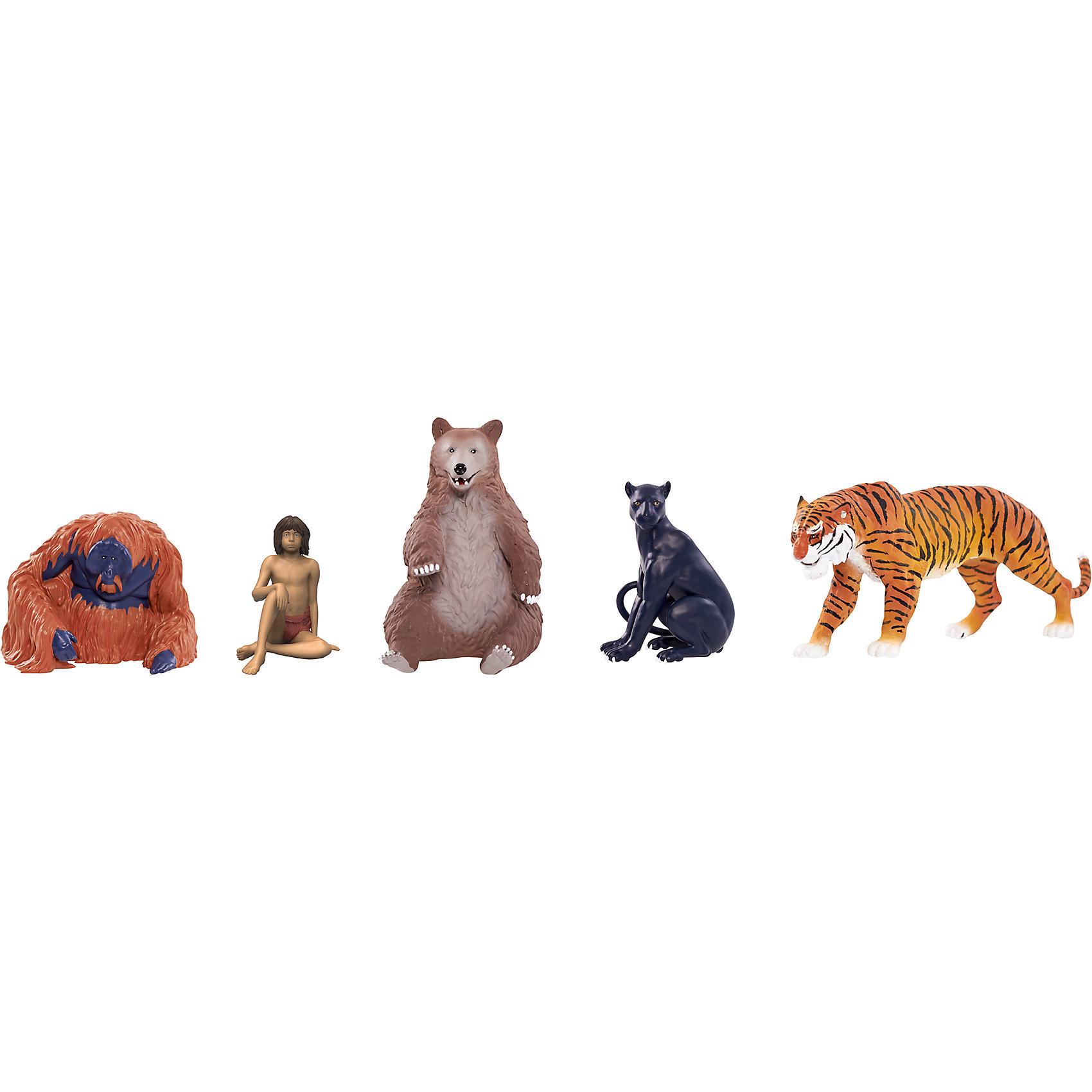 Игрушка Книга джунглей, 5 фигурок в блистере, Jungle BookМир животных<br>Игрушка Книга джунглей, 5 фигурок в блистере, Jungle Book.<br><br>Характеристики:<br><br>- В наборе 5 фигурок: Маугли, Балу, Король Луи, Шерхан, Багира<br>- Высота фигурки Маугли: 4 см.<br>- Высота фигурки Балу: 6 см.<br>- Материал: пластик<br>- Упаковка: коробка-блистер<br>- Размер упаковки: 29х12х13 см.<br>- Вес: 345 гр.<br><br>Набор включает в себя 5 фигурок. Каждая из них изображает одного из персонажей фильма Книга Джунглей, который повествует о мальчике Маугли, случайно попавшего в дикие джунгли и выросшего там, в окружении диких животных. В наборе представлены тщательно детализированные фигурки храброго мальчика Маугли, добродушного медведя Балу, обезьяны Короля Луи, грозного тигра Шерхана, а также грациозной пантеры Багиры. Фигурки станут отличным подарком для каждого поклонника фильма Книга Джунглей. С ними ребенок сможет воспроизвести любимую сцену из фильма, либо придумать собственную историю о приключениях героев.<br><br>Игрушку Книга джунглей, 5 фигурок в блистере, Jungle Book можно купить в нашем интернет-магазине.<br><br>Ширина мм: 290<br>Глубина мм: 130<br>Высота мм: 120<br>Вес г: 360<br>Возраст от месяцев: 36<br>Возраст до месяцев: 144<br>Пол: Унисекс<br>Возраст: Детский<br>SKU: 4653322