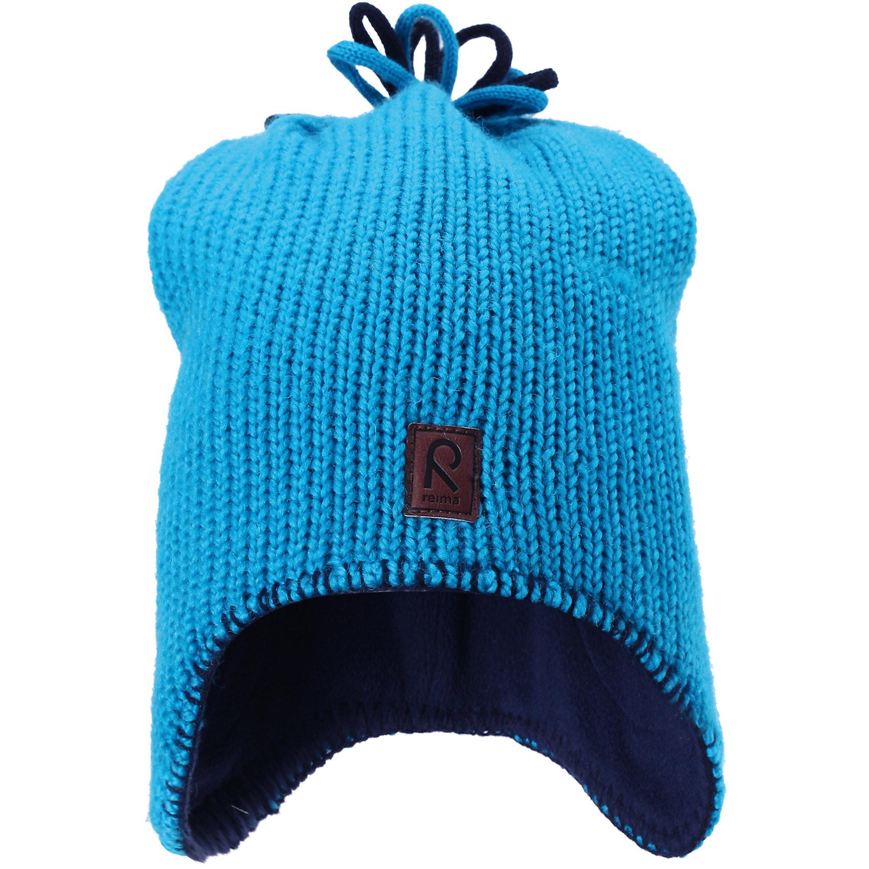 Шапка для мальчика ReimaШапки и шарфы<br>Шапка  от финской марки Reima.<br>Состав:<br>100% Шерсть<br><br>Ширина мм: 89<br>Глубина мм: 117<br>Высота мм: 44<br>Вес г: 155<br>Цвет: голубой<br>Возраст от месяцев: 9<br>Возраст до месяцев: 12<br>Пол: Мужской<br>Возраст: Детский<br>Размер: 46,54,52,50,48<br>SKU: 4653952