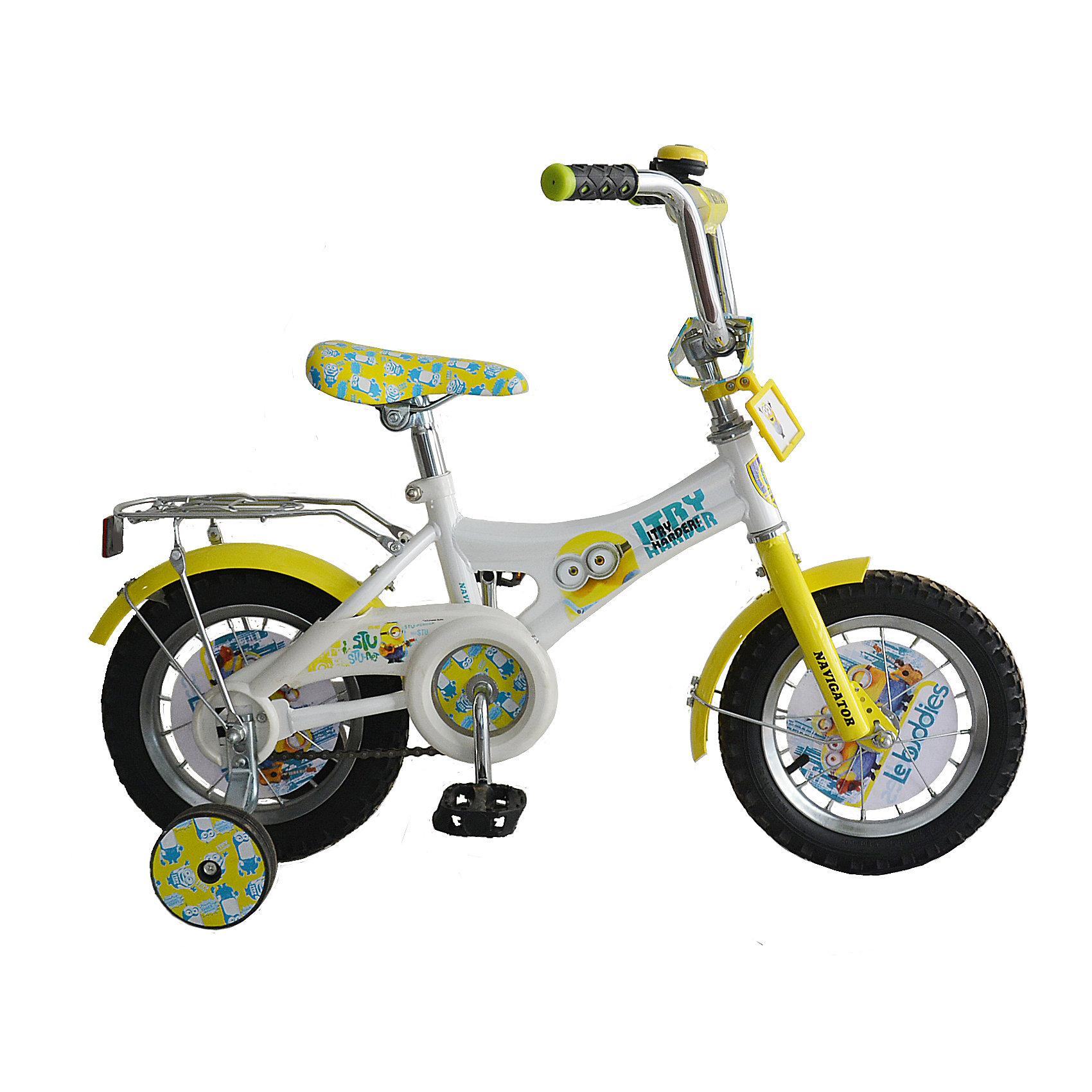 Велосипед, Гадкий Я, NavigatorВелосипед, Гадкий Я, Navigator (Навигатор) – эта модель велосипеда городского типа отлично подойдет как мальчикам, так и девочкам.<br>Велосипед для езды по пересеченной местности и городу, оформленный по мотивам популярного мультфильма Гадкий Я - отличный вариант первого транспортного средства для маленьких гонщиков. Рама велосипеда, выполненная из высокопрочного металла, подойдет как для девочек, так и для мальчиков. Покрытие рамы устойчиво к царапинам. Руль достаточно подвижный и позволяет быстро сориентироваться с управлением. Мягкая накладка на руле обеспечит небольшое смягчение при падении на руль. На ручках руля нескользящее покрытие. Велосипед имеет дополнительные широкие страховочные колеса, защиту цепи, стальные обода для защиты от брызг, удобное сиденье эргономичной формы, широкие педали, громкий звонок, задний багажник. Основные колеса декорированы яркими вставками. Сиденье и руль регулируются по высоте. Катание на велосипеде поможет ребенку укрепить опорно-двигательную и сердечнососудистую системы.<br><br>Дополнительная информация:<br><br>- Возрастная категория: 2,5 - 4 лет<br>- Подходит для детей ростом 85 - 110 см.<br>- Диаметр колес: 12 дюймов<br>- Односоставной шатун<br>- Тормоз: ножной<br>- Конструкция вилки: жесткая<br>- Материал рамы: сталь<br>- Вес велосипеда: 8,9 кг.<br><br>Велосипед, Гадкий Я, Navigator (Навигатор) можно купить в нашем интернет-магазине.<br><br>Ширина мм: 700<br>Глубина мм: 165<br>Высота мм: 325<br>Вес г: 9500<br>Возраст от месяцев: 300<br>Возраст до месяцев: 84<br>Пол: Унисекс<br>Возраст: Детский<br>SKU: 4655076