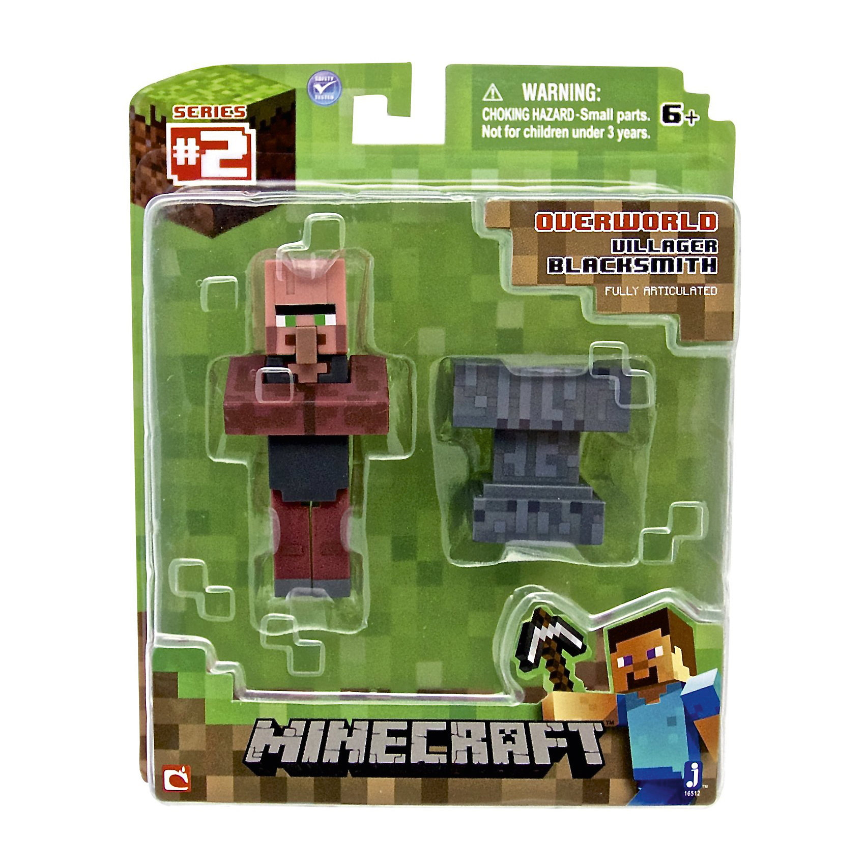 Игровой набор Деревенский житель, MinecraftКоллекционные и игровые фигурки<br>Игровой набор Деревенский житель, Minecraft – это прекрасный подарок для поклонника популярной игры Minecraft.<br>Игровой набор Деревенский житель приведет в восторг поклонников компьютерной игры Minecraft. Теперь ваш ребенок сможет отвлечься от компьютера или планшета, не отрываясь от любимой забавы! Выполненный из высококачественного пластика, комплект включает подвижную фигурку дружелюбного моба кузнеца и элемент фантастического мира - наковальню. У фигурки кузнеца вращается голова, и сгибаются ручки и ножки. Кузнец может держать в руках различные предметы. Фигурка прекрасно детализирована, реалистично раскрашена.<br><br>Дополнительная информация:<br><br>- В наборе: подвижная фигурка деревенского жителя (кузнеца), наковальня<br>- Размер фигурки кузнеца: 7,5х3,5х2 см.<br>- Материал: пластик<br>- Упаковка: блистер<br>- Размер упаковки: 14х17 см.<br><br>Игровой набор Деревенский житель, Minecraft можно купить в нашем интернет-магазине.<br><br>Ширина мм: 145<br>Глубина мм: 50<br>Высота мм: 175<br>Вес г: 100<br>Возраст от месяцев: 72<br>Возраст до месяцев: 144<br>Пол: Унисекс<br>Возраст: Детский<br>SKU: 4655078