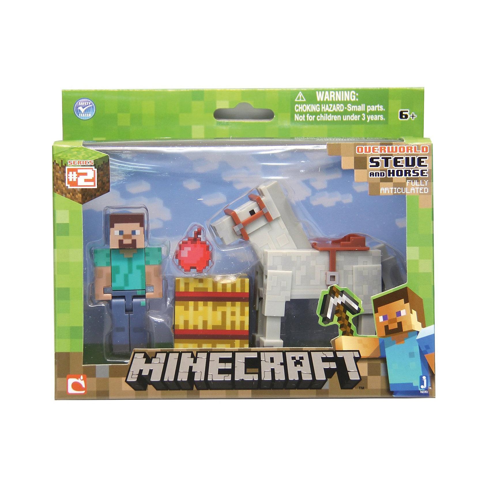 Игровой набор Стив с лошадью, MinecraftКоллекционные и игровые фигурки<br>Игровой набор Стив с лошадью, Minecraft – это прекрасный подарок для поклонника популярной игры Minecraft.<br>Игровой набор Стив с лошадью приведет в восторг поклонников компьютерной игры Minecraft. Теперь ваш ребенок сможет отвлечься от компьютера или планшета, не отрываясь от любимой забавы! Выполненный из высококачественного пластика, комплект включает подвижные фигурки Стива и лошади, а также элементы фантастического мира – пиксельный куб сена, яблоко. Голова, руки и ноги фигурок подвижны, что позволит придавать им различные позы. Стив может держать в руках различные предметы. Фигурки прекрасно детализированы, реалистично раскрашены.<br><br>Дополнительная информация:<br><br>- В наборе: подвижная фигурка. Стива, белая лошадь, куб, яблоко<br>- Высота фигурки Стива: 7 см.<br>- Высота лошади: 8,5 см.<br>- Материал: пластик<br>- Упаковка: блистер<br>- Размер упаковки: 19х12,7см.<br><br>Игровой набор Стив с лошадью, Minecraft можно купить в нашем интернет-магазине.<br><br>Ширина мм: 145<br>Глубина мм: 50<br>Высота мм: 175<br>Вес г: 150<br>Возраст от месяцев: 72<br>Возраст до месяцев: 144<br>Пол: Унисекс<br>Возраст: Детский<br>SKU: 4655079