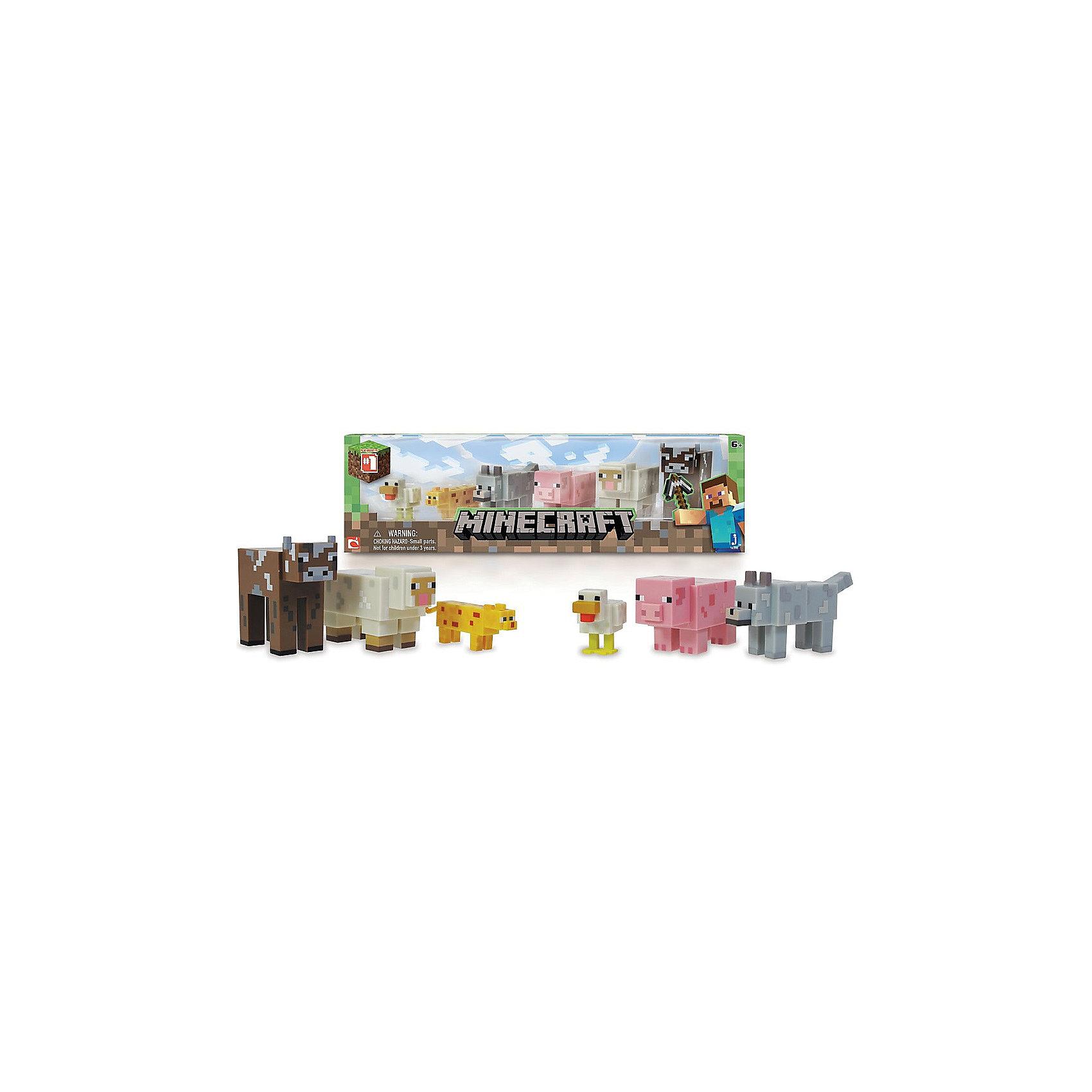Игровой набор Живтоные, MinecraftЛюбимые герои<br>Игровой набор Животные, Minecraft – это прекрасный подарок для поклонника популярной игры Minecraft.<br>Игровой набор Животные приведет в восторг поклонников компьютерной игры Minecraft. Теперь ваш ребенок сможет отвлечься от компьютера или планшета, не отрываясь от любимой забавы! Животные в игре «Майнкрафт» - это источник ценных ресурсов и вообще повод извлечь для себя какую-нибудь пользу. Хотя некоторых зверей, определенно, стоит сторониться. В игровом наборе по мотивам знаменитой игры Minecraft содержатся 6 стилизованных фигурок животных в фирменном и уникальном пикселизированном стиле. Фигурки созданы из качественного пластика, их очень приятно держать в руках, их головы и конечности подвижные. Фигурки прекрасно детализированы, реалистично раскрашены, очень похожи на персонажей компьютерной игры.<br><br>Дополнительная информация:<br><br>- В наборе подвижные фигурки: курица, оцелот, ручной волк, свинья, овца, корова<br>- Материал: пластик<br>- Размер упаковки: 14,5х5х17,5см.<br><br>Игровой набор Животные, Minecraft можно купить в нашем интернет-магазине.<br><br>Ширина мм: 145<br>Глубина мм: 50<br>Высота мм: 175<br>Вес г: 225<br>Возраст от месяцев: 72<br>Возраст до месяцев: 144<br>Пол: Унисекс<br>Возраст: Детский<br>SKU: 4655080